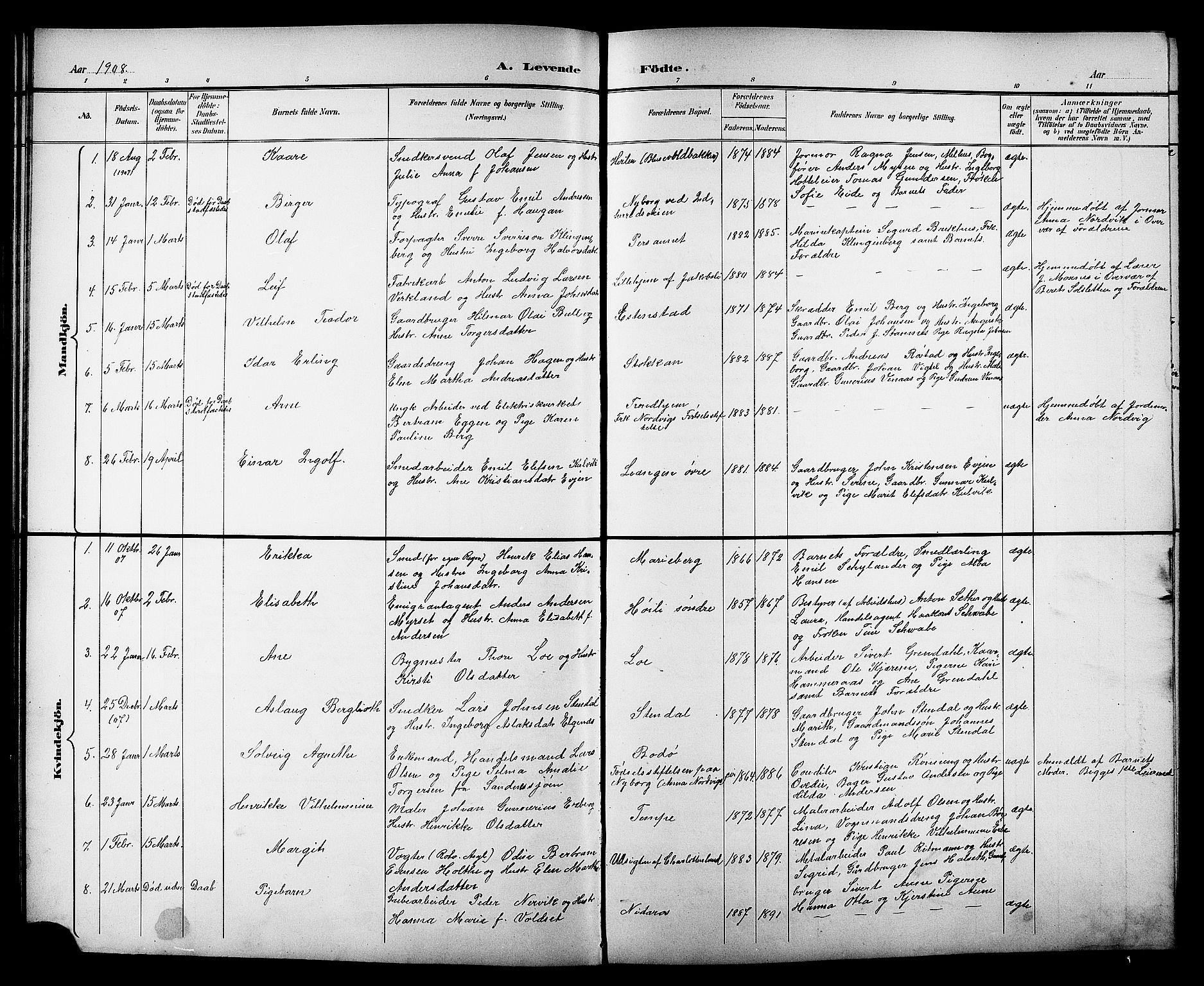 SAT, Ministerialprotokoller, klokkerbøker og fødselsregistre - Sør-Trøndelag, 606/L0313: Klokkerbok nr. 606C09, 1895-1910