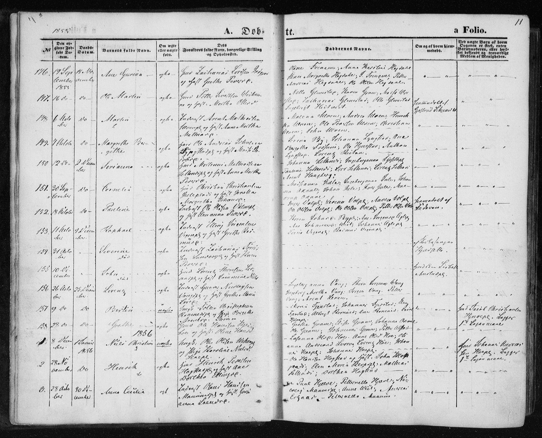 SAT, Ministerialprotokoller, klokkerbøker og fødselsregistre - Nord-Trøndelag, 730/L0283: Ministerialbok nr. 730A08, 1855-1865, s. 11