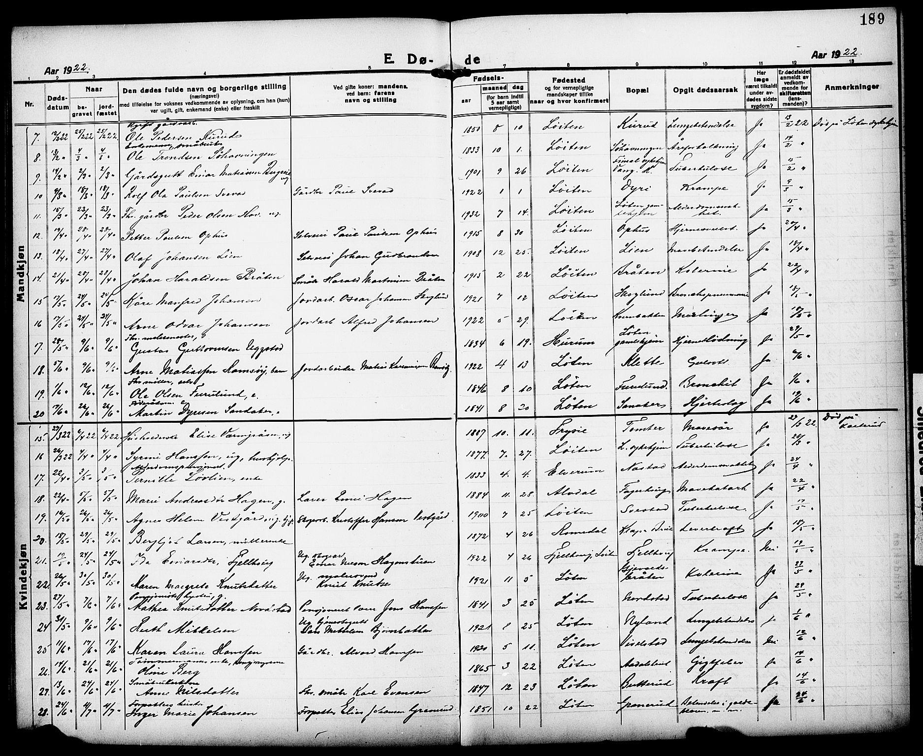 SAH, Løten prestekontor, L/La/L0008: Klokkerbok nr. 8, 1920-1929, s. 189