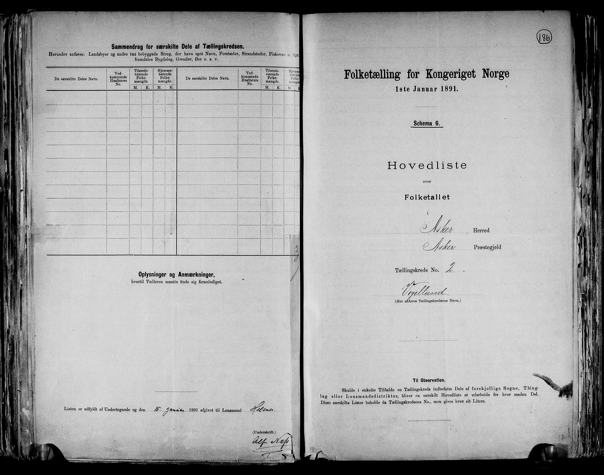 RA, Folketelling 1891 for 0220 Asker herred, 1891, s. 7