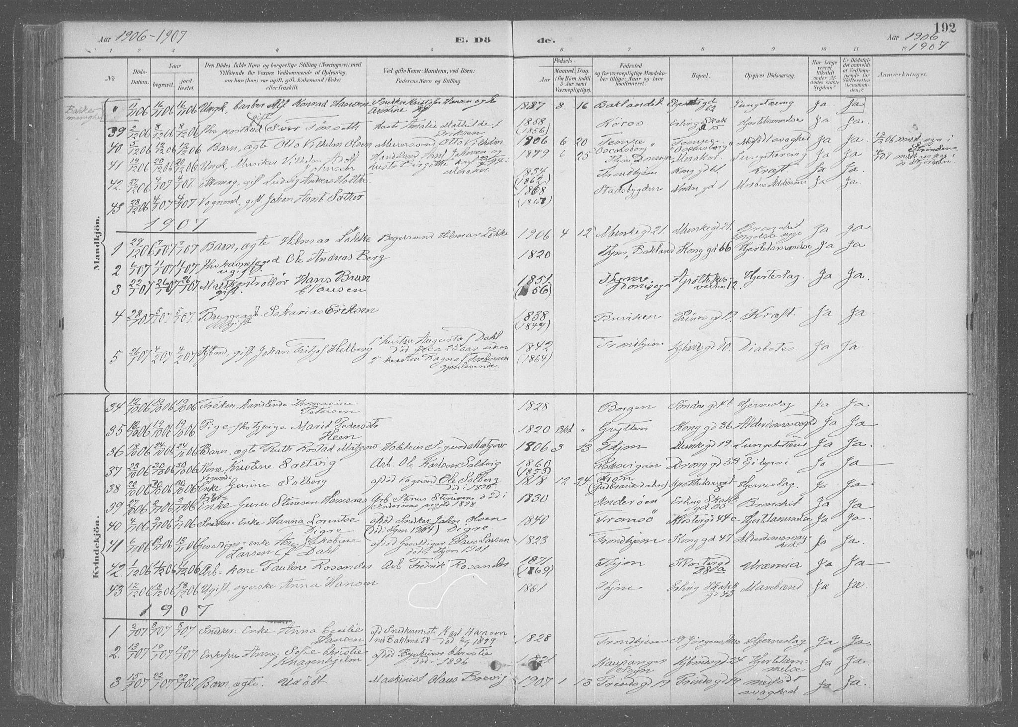 SAT, Ministerialprotokoller, klokkerbøker og fødselsregistre - Sør-Trøndelag, 601/L0064: Ministerialbok nr. 601A31, 1891-1911, s. 192