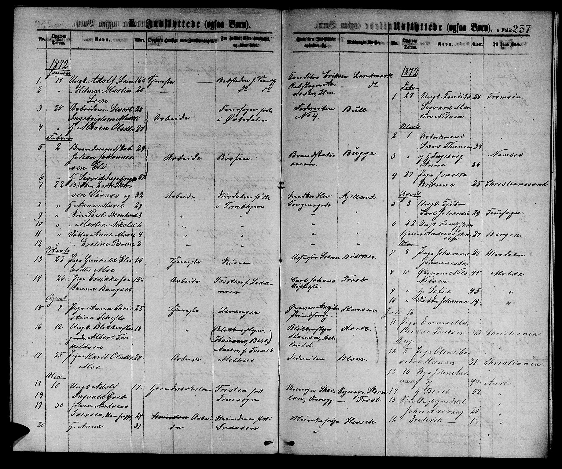 SAT, Ministerialprotokoller, klokkerbøker og fødselsregistre - Sør-Trøndelag, 601/L0088: Klokkerbok nr. 601C06, 1870-1878, s. 257