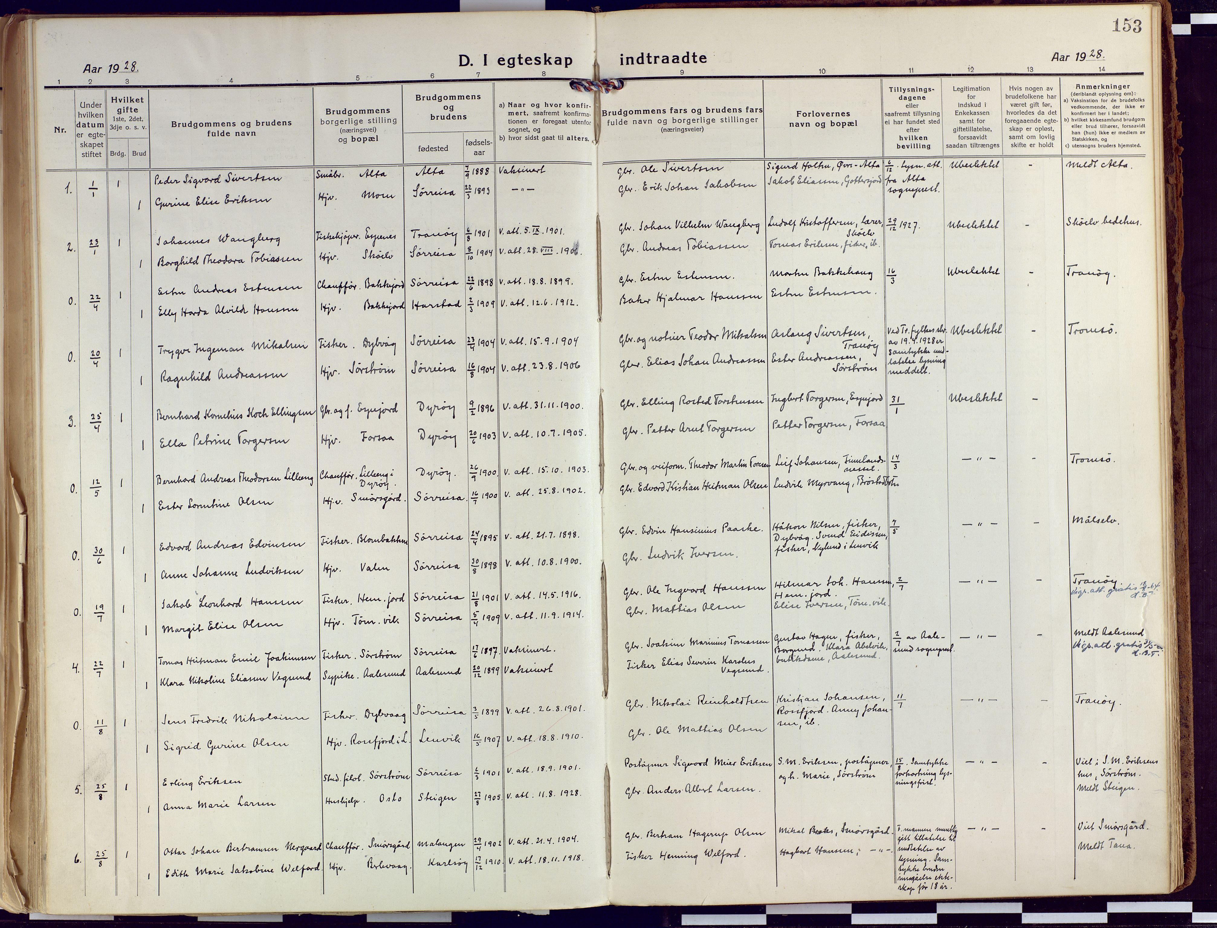 SATØ, Tranøy sokneprestkontor, I/Ia/Iaa/L0015kirke: Ministerialbok nr. 15, 1919-1928, s. 153