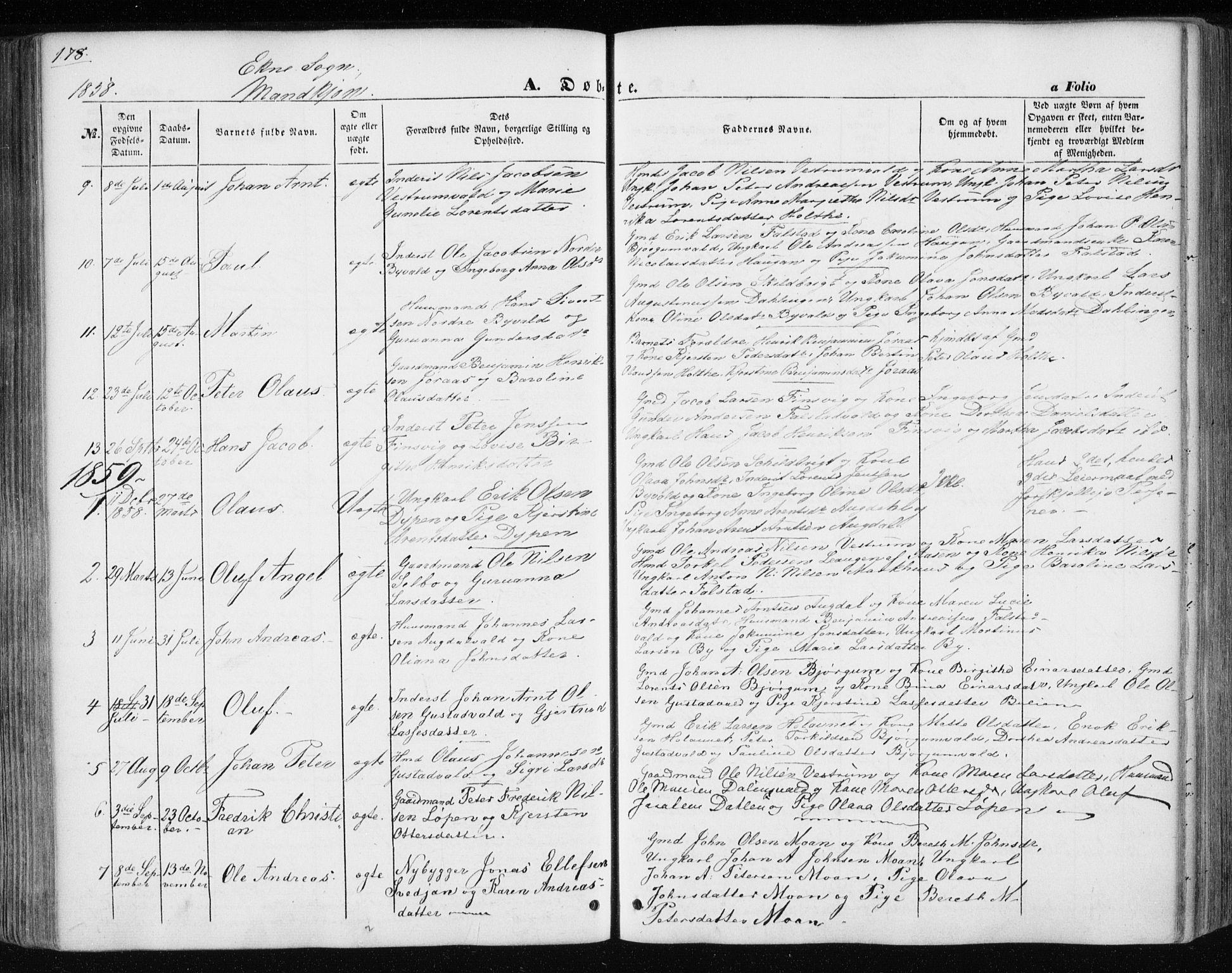 SAT, Ministerialprotokoller, klokkerbøker og fødselsregistre - Nord-Trøndelag, 717/L0154: Ministerialbok nr. 717A07 /3, 1850-1862, s. 178