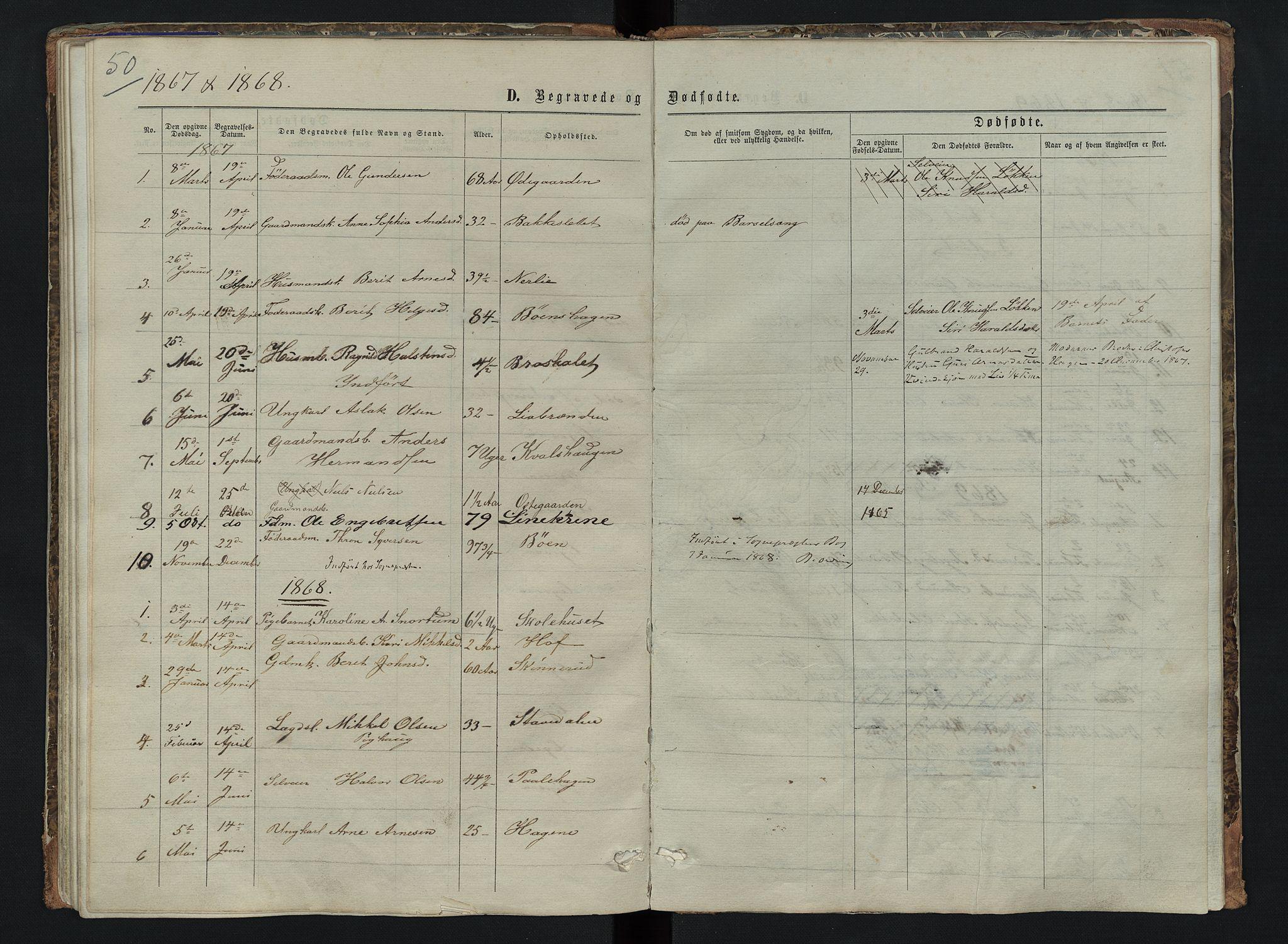 SAH, Sør-Aurdal prestekontor, Klokkerbok nr. 6, 1866-1893, s. 50