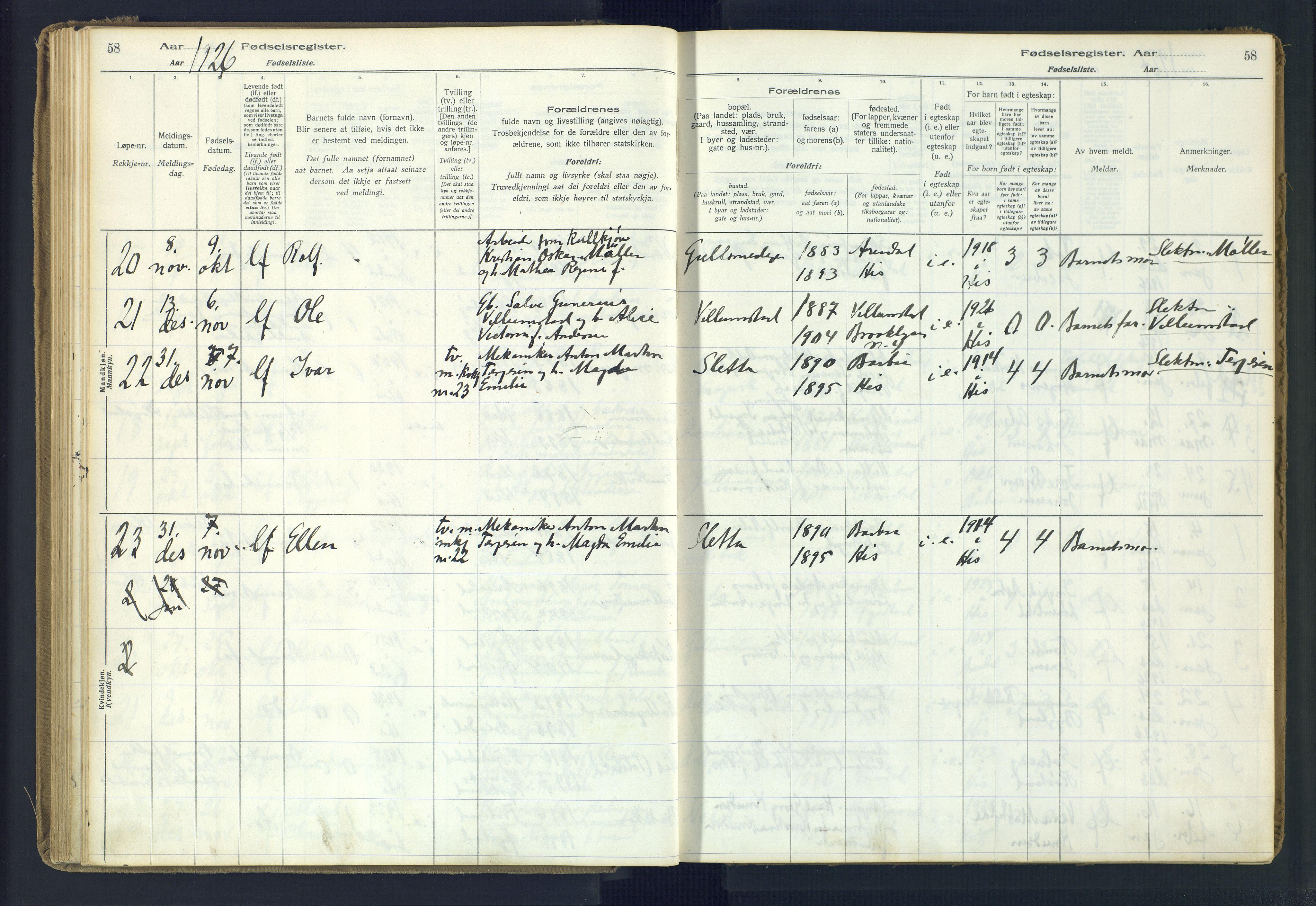 SAK, Hisøy sokneprestkontor, J/Ja/L0001: Fødselsregister nr. A-VI-14, 1916-1951, s. 58