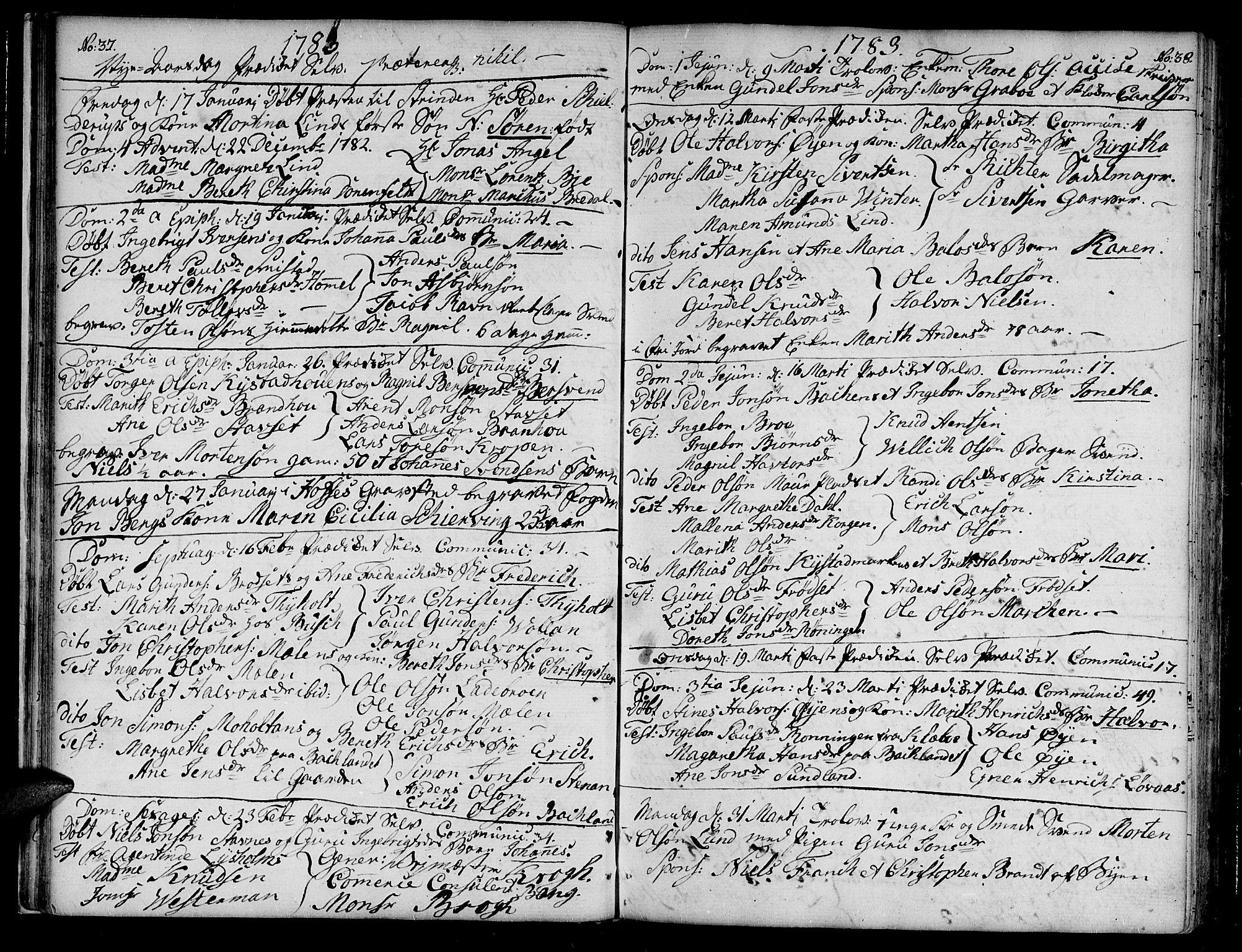SAT, Ministerialprotokoller, klokkerbøker og fødselsregistre - Sør-Trøndelag, 604/L0180: Ministerialbok nr. 604A01, 1780-1797, s. 37-38