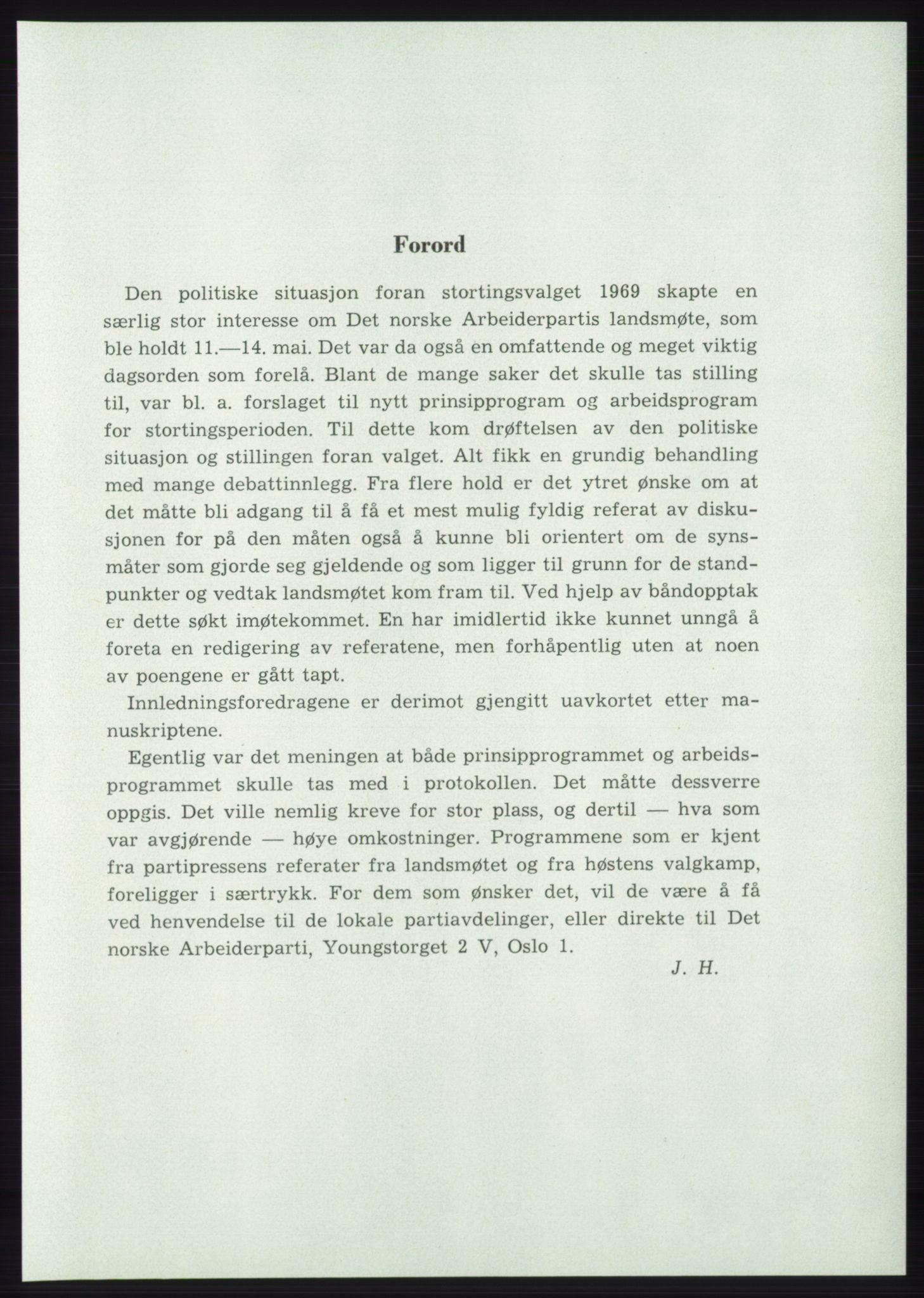 AAB, Det norske Arbeiderparti - publikasjoner, -/-: Protokoll over forhandlingene på det 42. ordinære landsmøte 11.-14. mai 1969 i Oslo, 1969