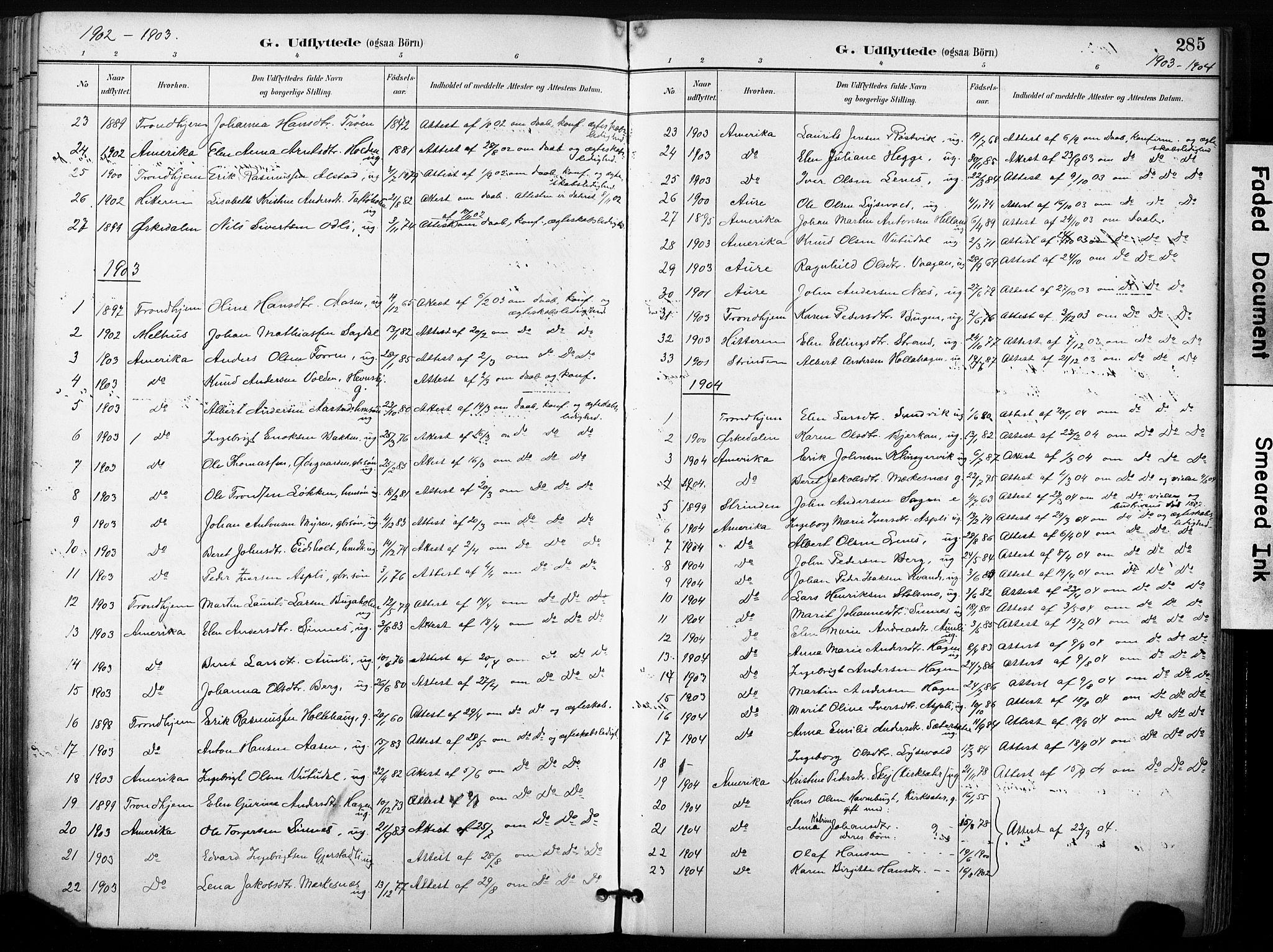 SAT, Ministerialprotokoller, klokkerbøker og fødselsregistre - Sør-Trøndelag, 630/L0497: Ministerialbok nr. 630A10, 1896-1910, s. 285