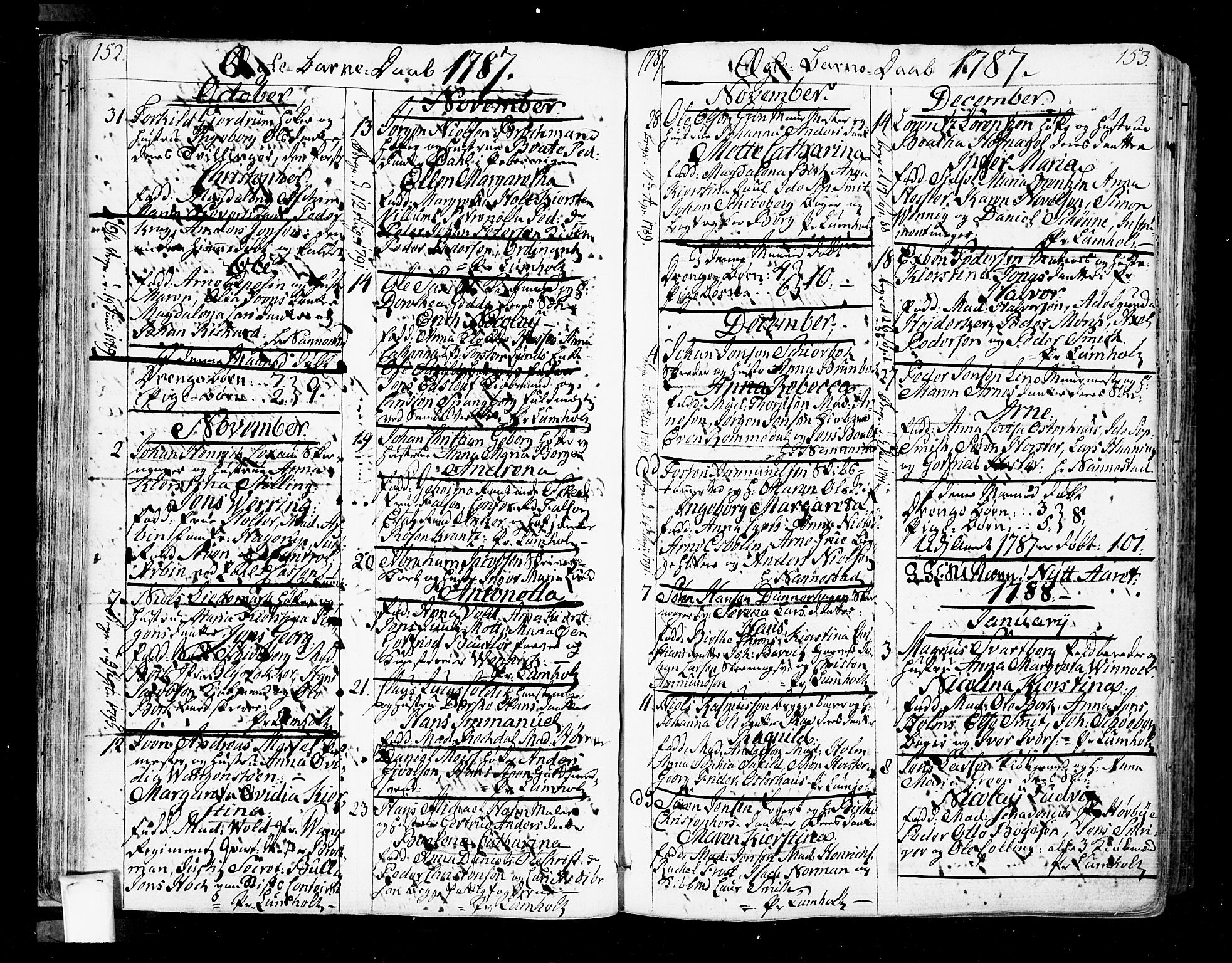 SAO, Oslo domkirke Kirkebøker, F/Fa/L0005: Ministerialbok nr. 5, 1787-1806, s. 152-153