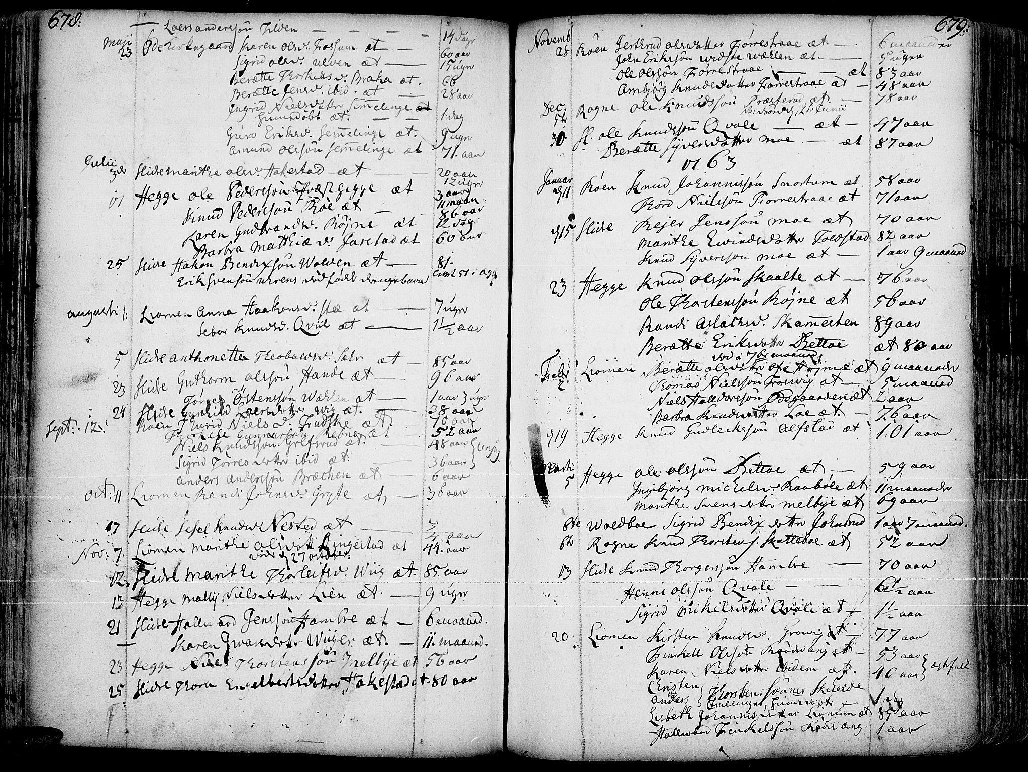 SAH, Slidre prestekontor, Ministerialbok nr. 1, 1724-1814, s. 678-679