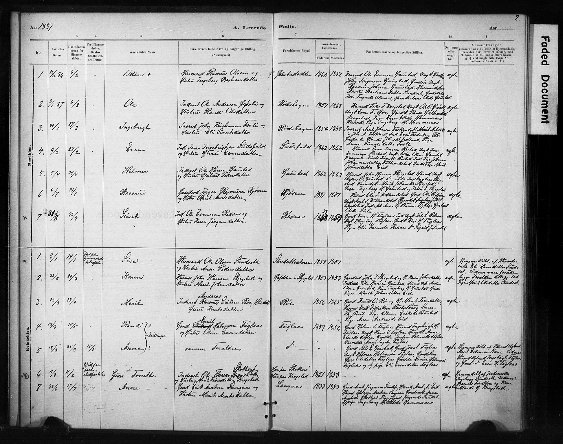 SAT, Ministerialprotokoller, klokkerbøker og fødselsregistre - Sør-Trøndelag, 694/L1127: Ministerialbok nr. 694A01, 1887-1905, s. 2