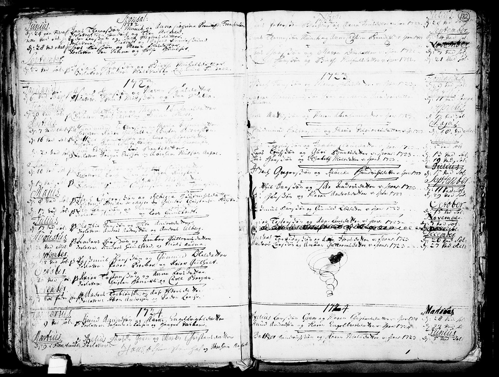 SAKO, Solum kirkebøker, F/Fa/L0002: Ministerialbok nr. I 2, 1713-1761, s. 182