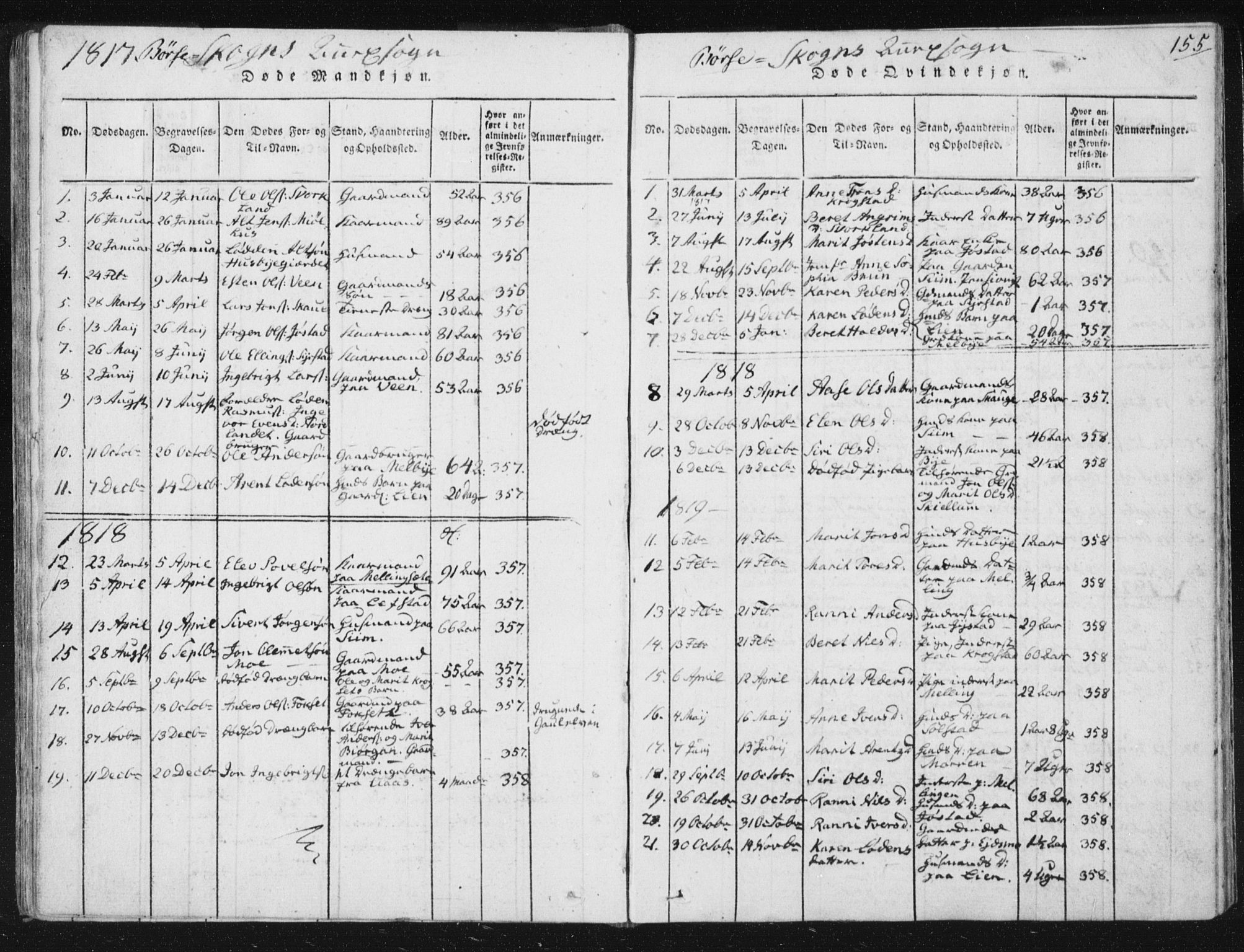 SAT, Ministerialprotokoller, klokkerbøker og fødselsregistre - Sør-Trøndelag, 665/L0770: Ministerialbok nr. 665A05, 1817-1829, s. 155
