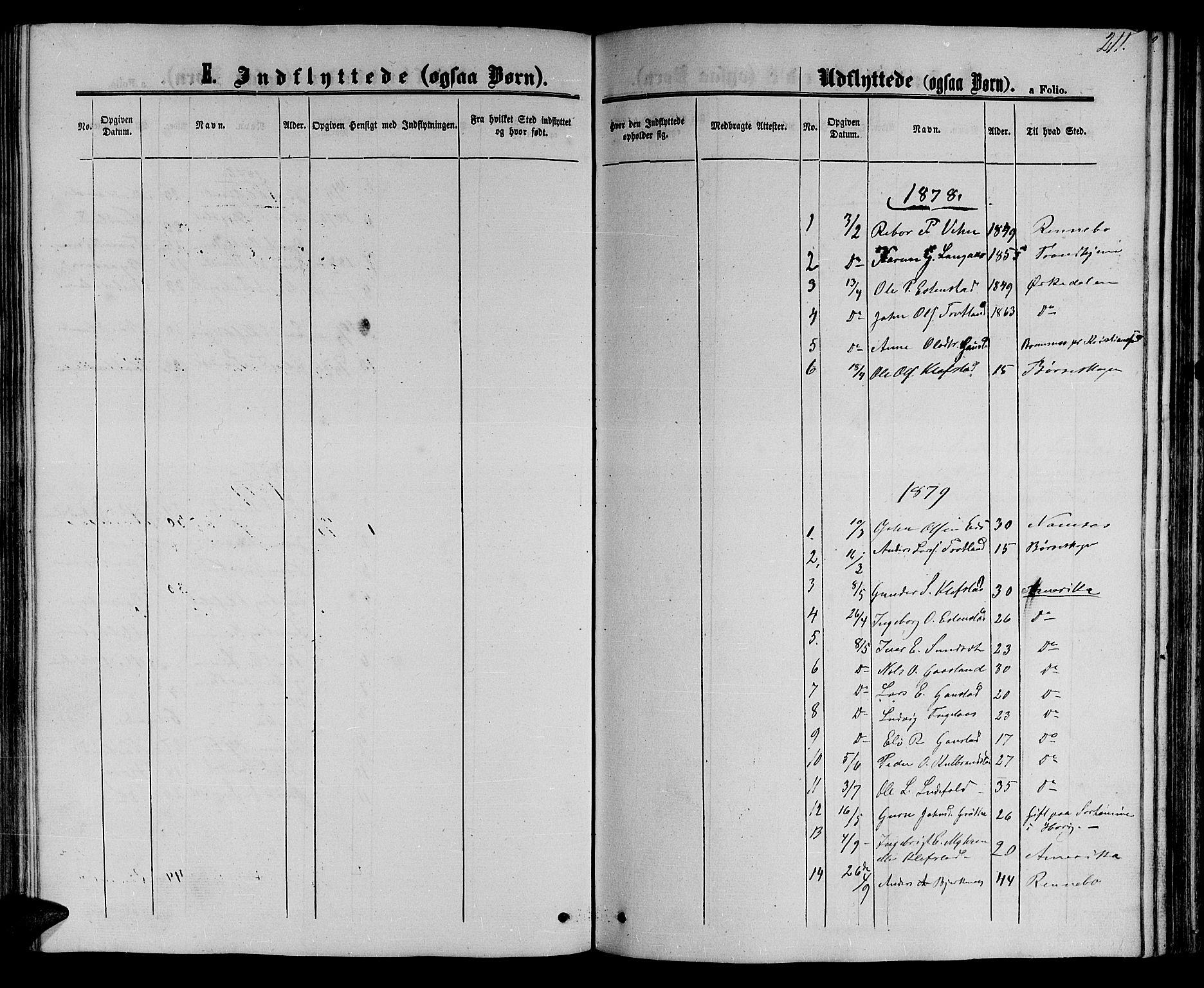 SAT, Ministerialprotokoller, klokkerbøker og fødselsregistre - Sør-Trøndelag, 694/L1131: Klokkerbok nr. 694C03, 1858-1886, s. 211