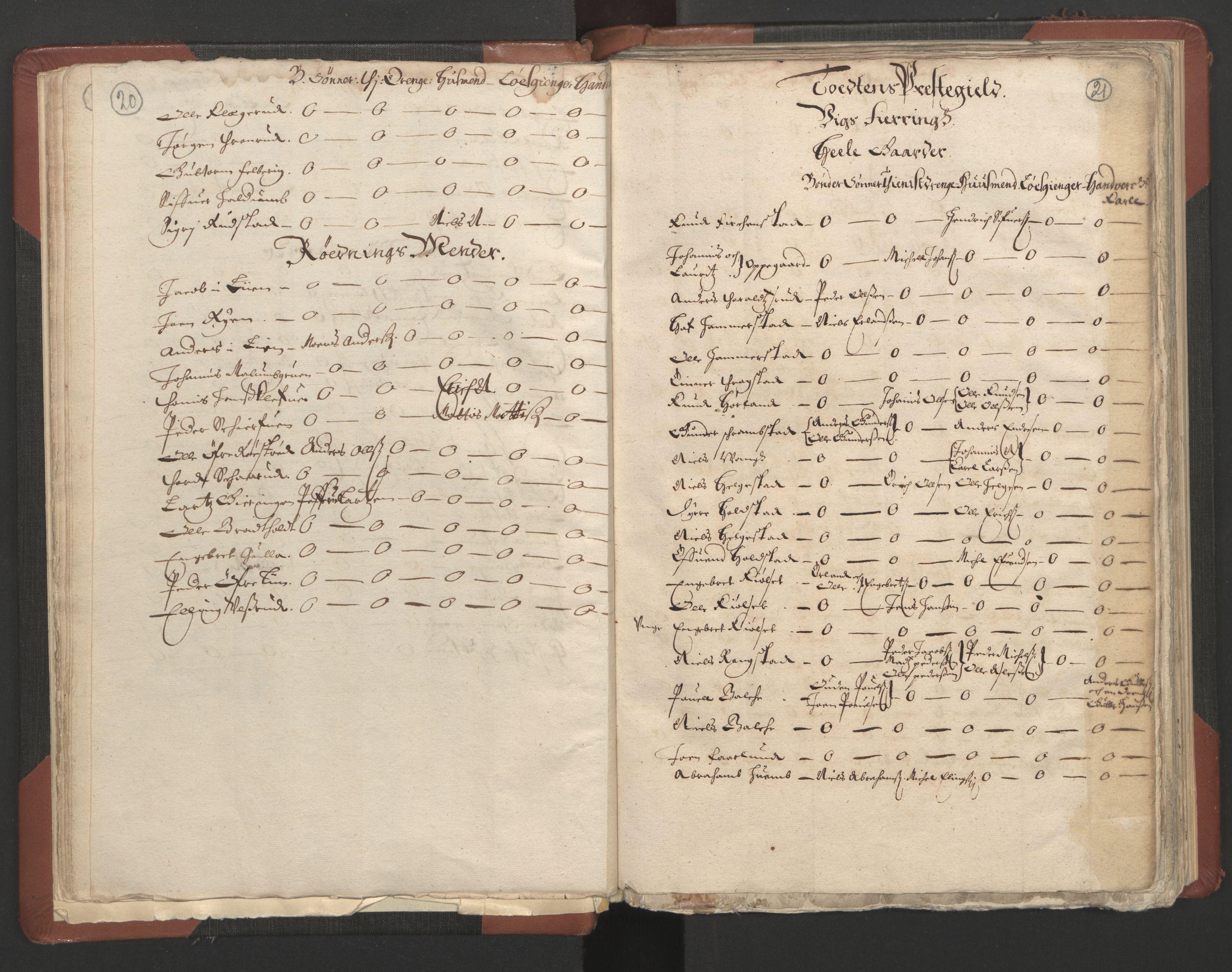 RA, Fogdenes og sorenskrivernes manntall 1664-1666, nr. 4: Hadeland og Valdres fogderi og Gudbrandsdal fogderi, 1664, s. 20-21