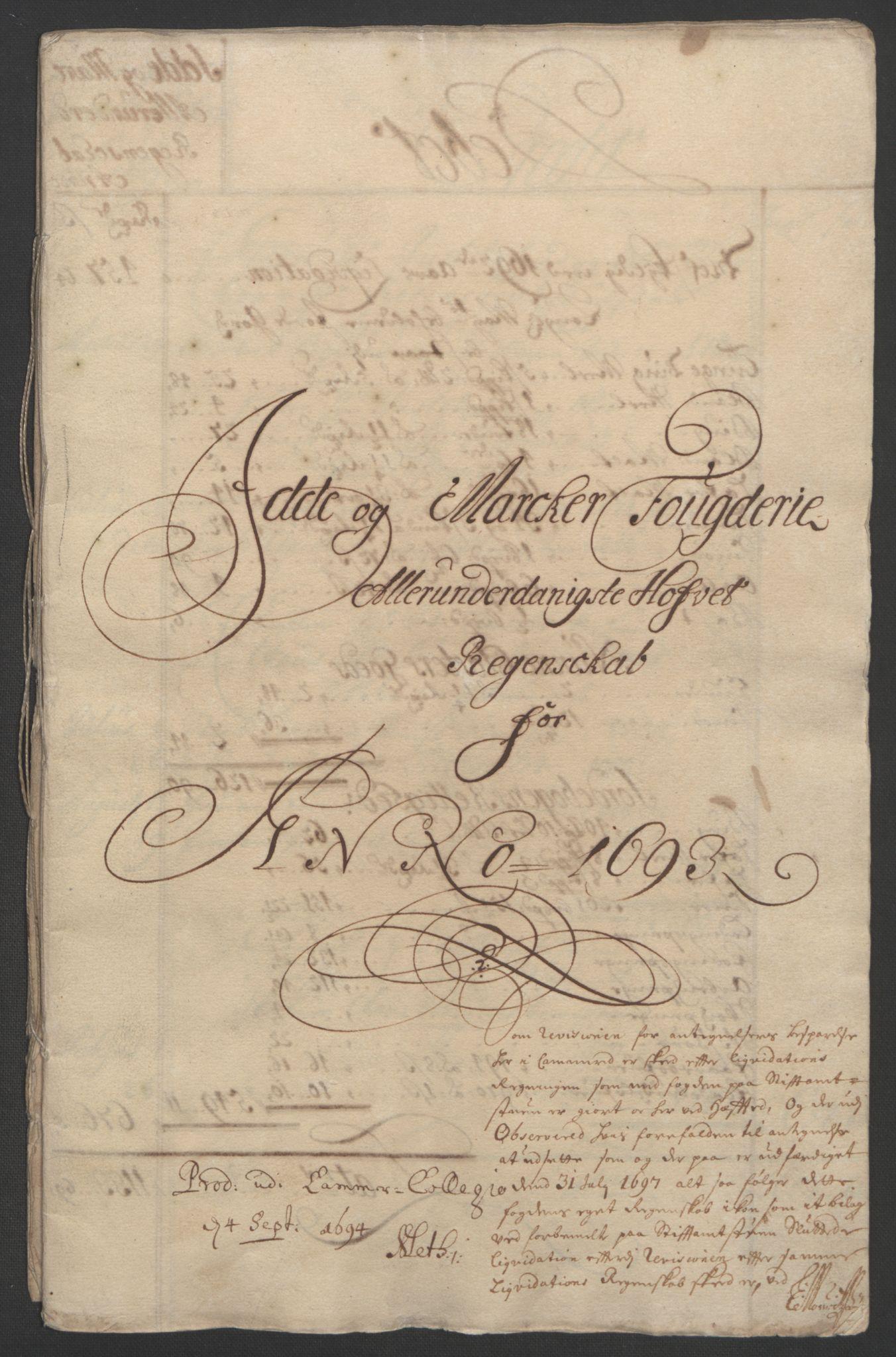 RA, Rentekammeret inntil 1814, Reviderte regnskaper, Fogderegnskap, R01/L0011: Fogderegnskap Idd og Marker, 1692-1693, s. 193