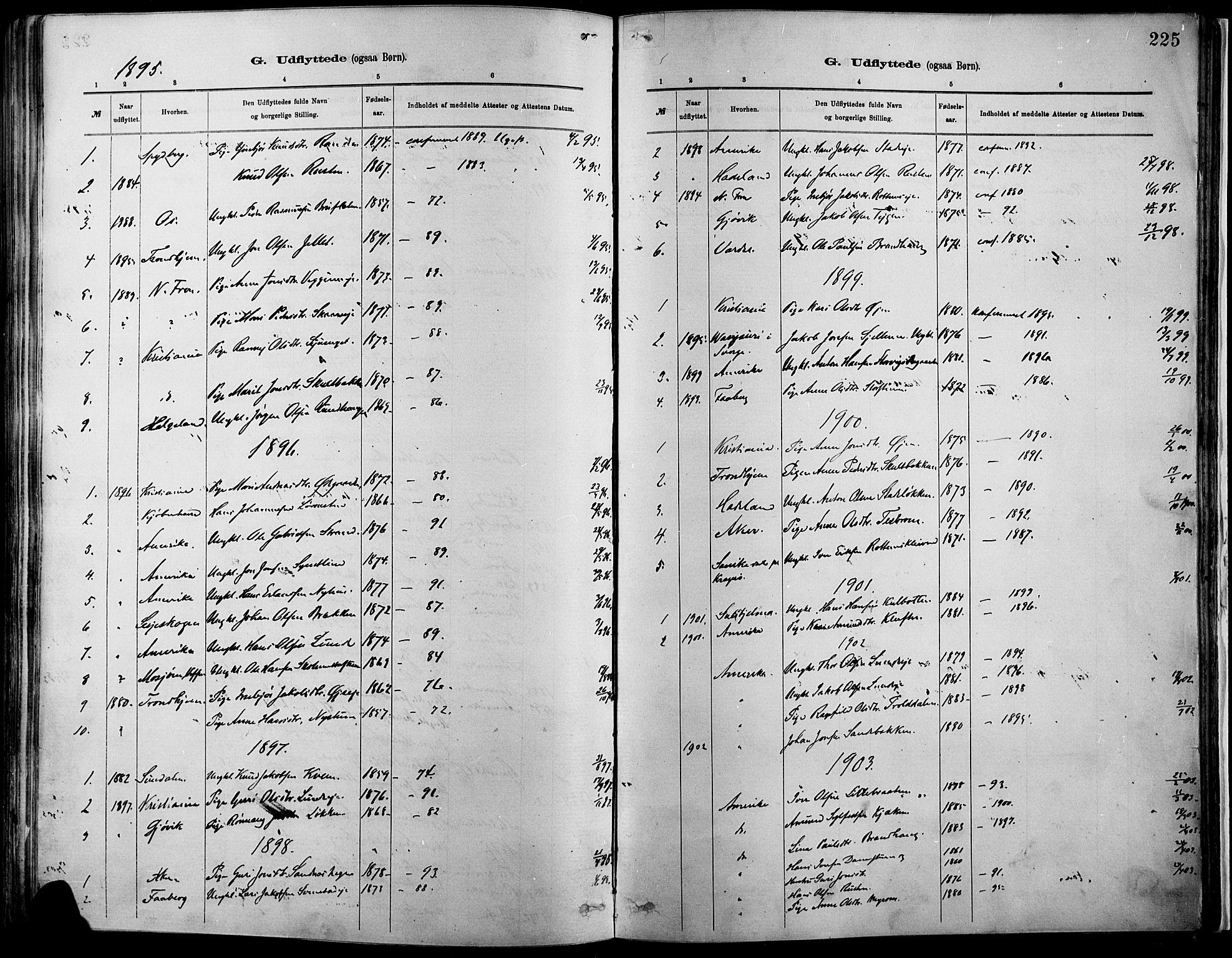 SAH, Vågå prestekontor, Ministerialbok nr. 9, 1886-1904, s. 225