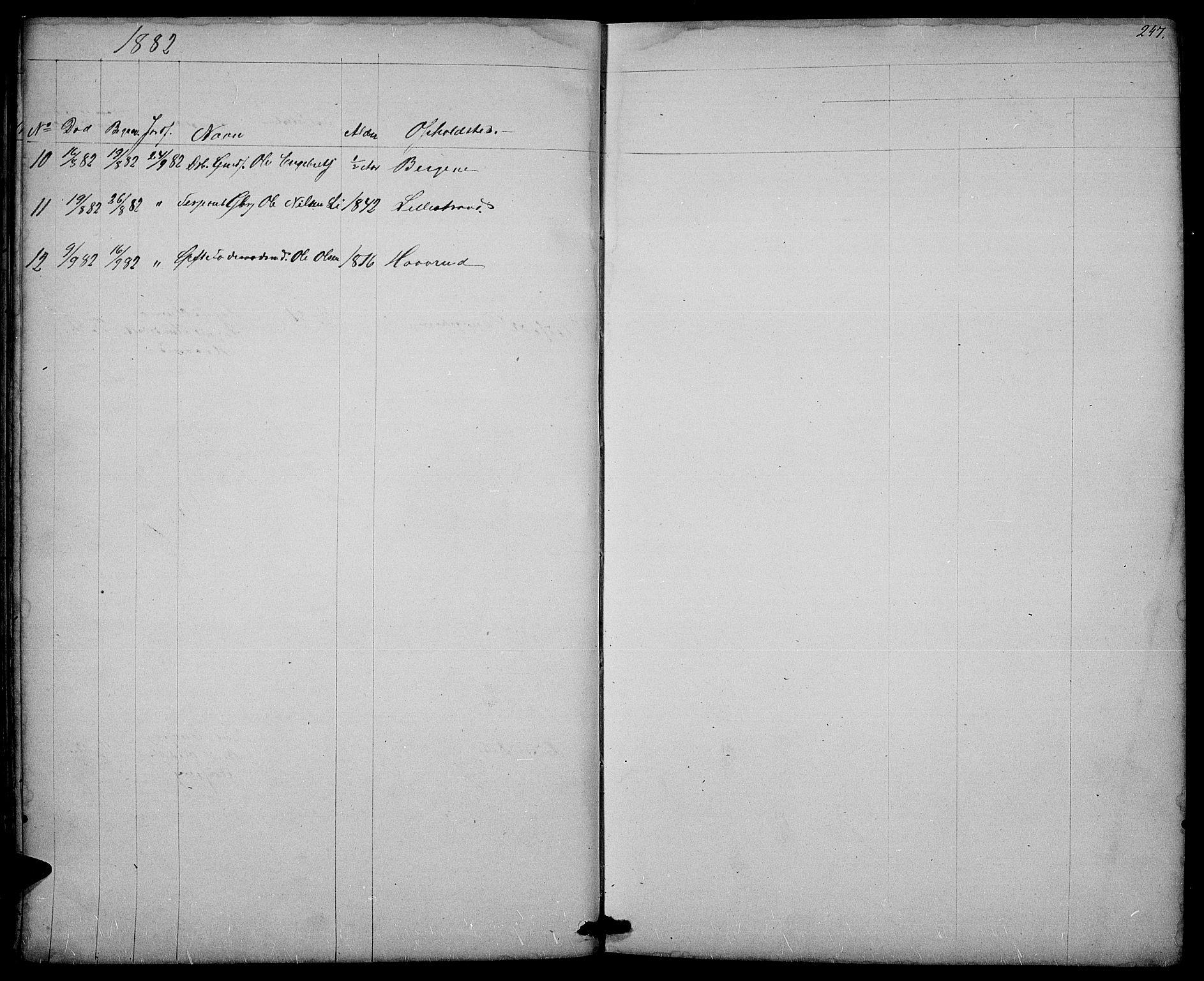SAH, Nord-Aurdal prestekontor, Klokkerbok nr. 3, 1842-1882, s. 247