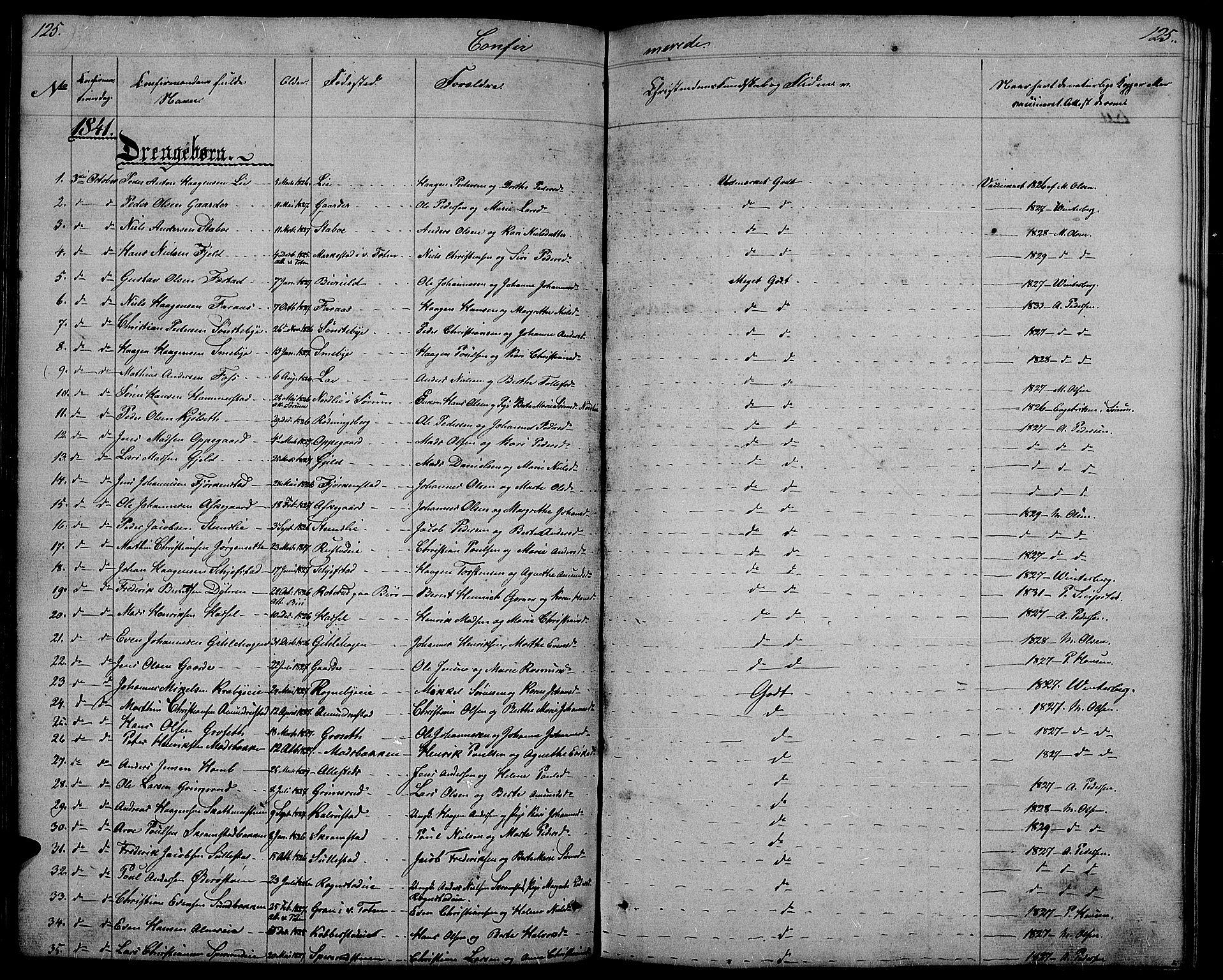 SAH, Østre Toten prestekontor, Klokkerbok nr. 2, 1840-1847, s. 125