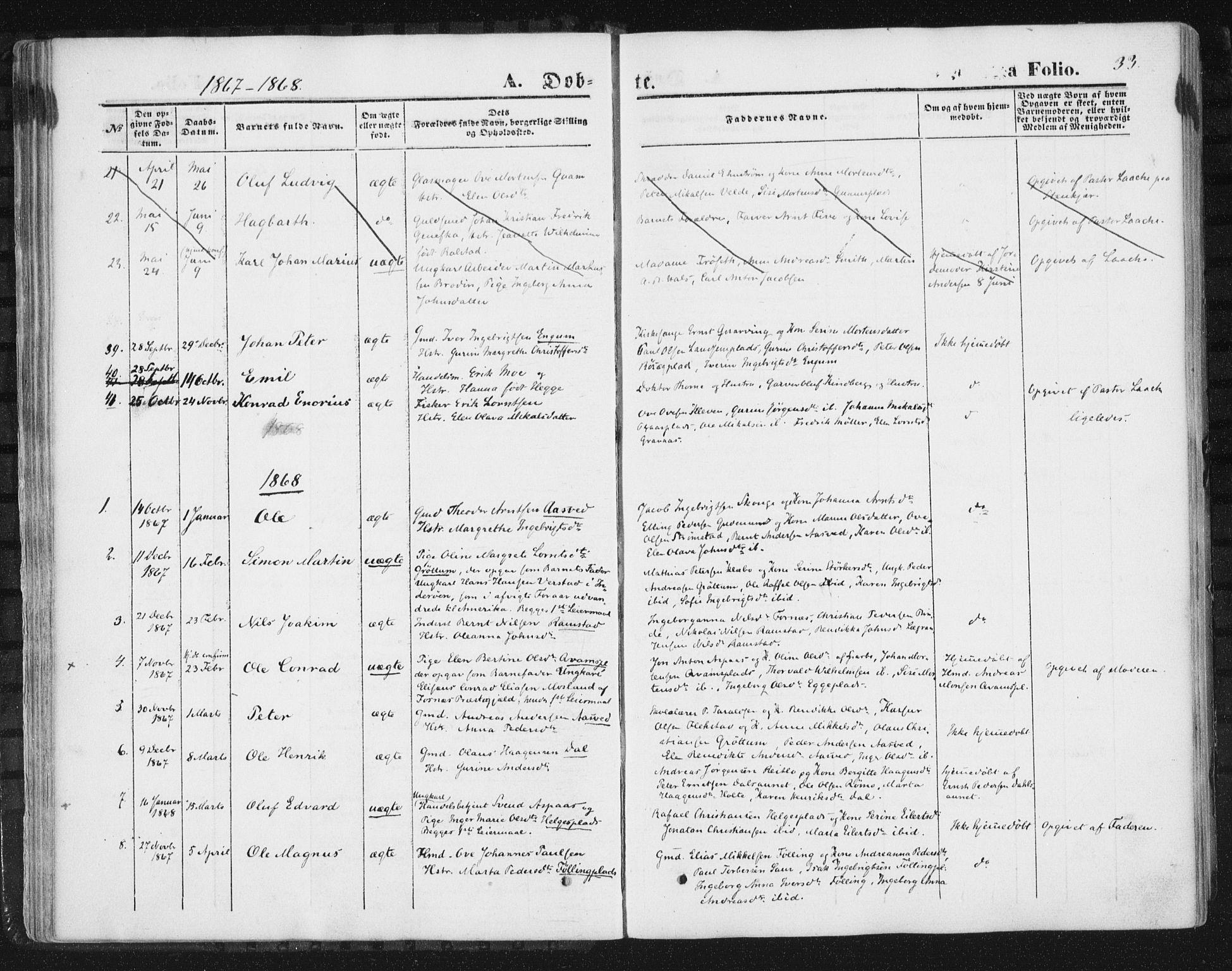 SAT, Ministerialprotokoller, klokkerbøker og fødselsregistre - Nord-Trøndelag, 746/L0447: Ministerialbok nr. 746A06, 1860-1877, s. 33