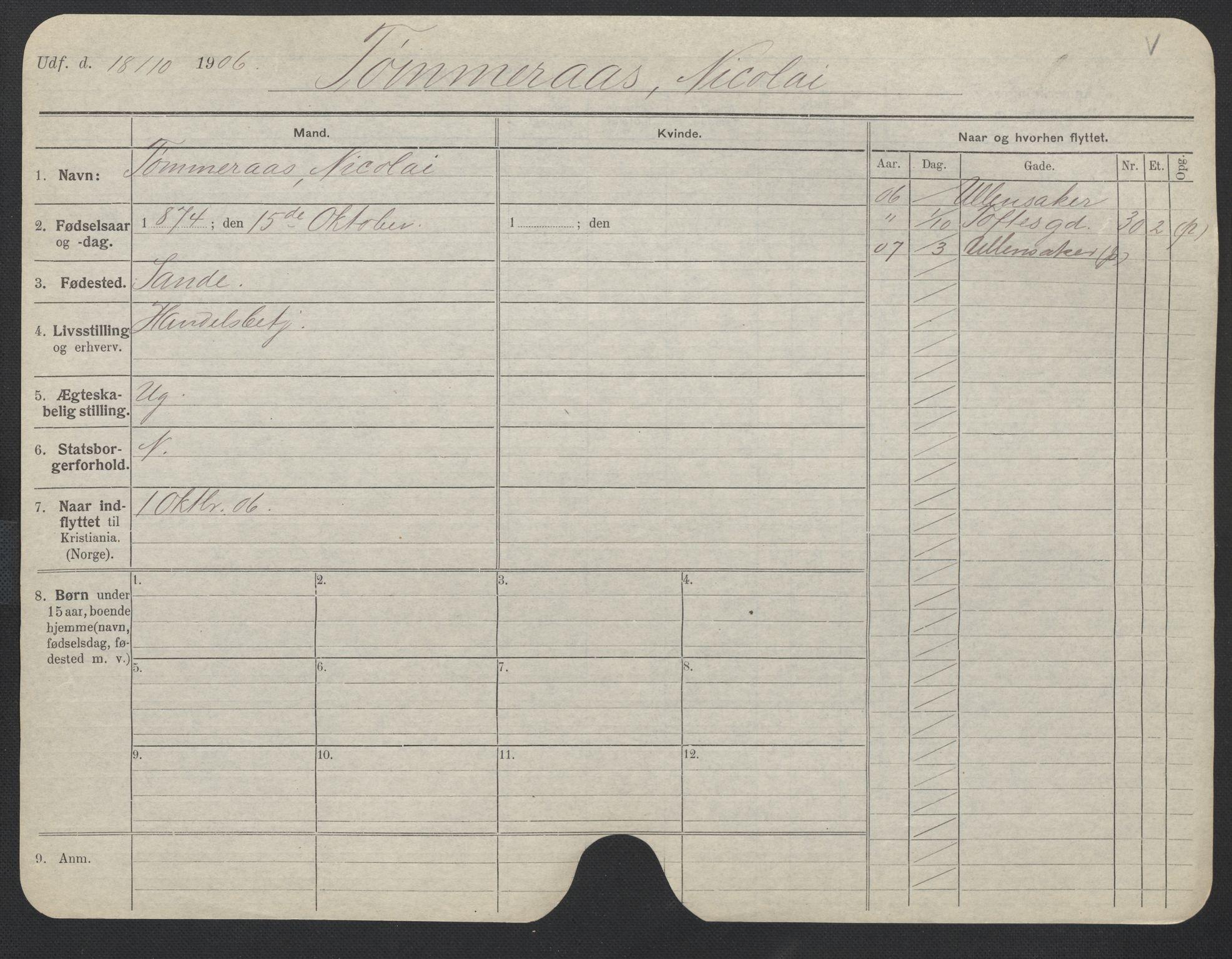 SAO, Oslo folkeregister, Registerkort, F/Fa/Fac/L0011: Menn, 1906-1914, s. 476a