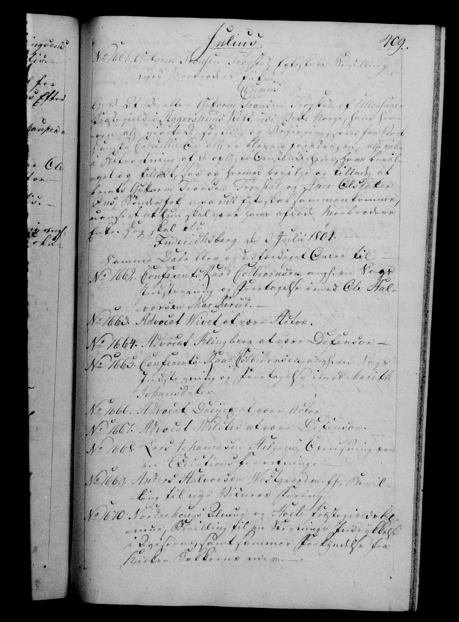 RA, Danske Kanselli 1800-1814, H/Hf/Hfb/Hfba/L0001: Registranter, 1800-1801, s. 409a