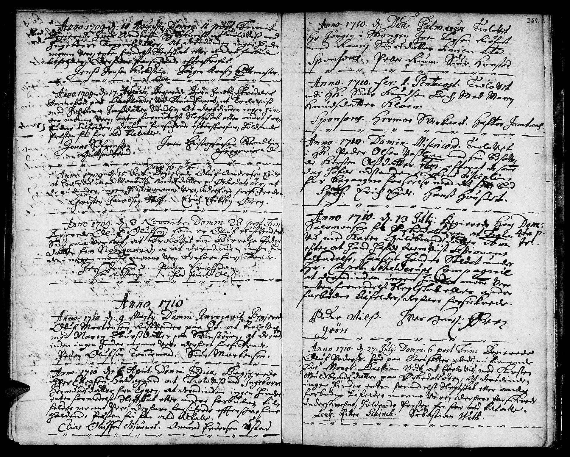 SAT, Ministerialprotokoller, klokkerbøker og fødselsregistre - Sør-Trøndelag, 668/L0801: Ministerialbok nr. 668A01, 1695-1716, s. 368-369