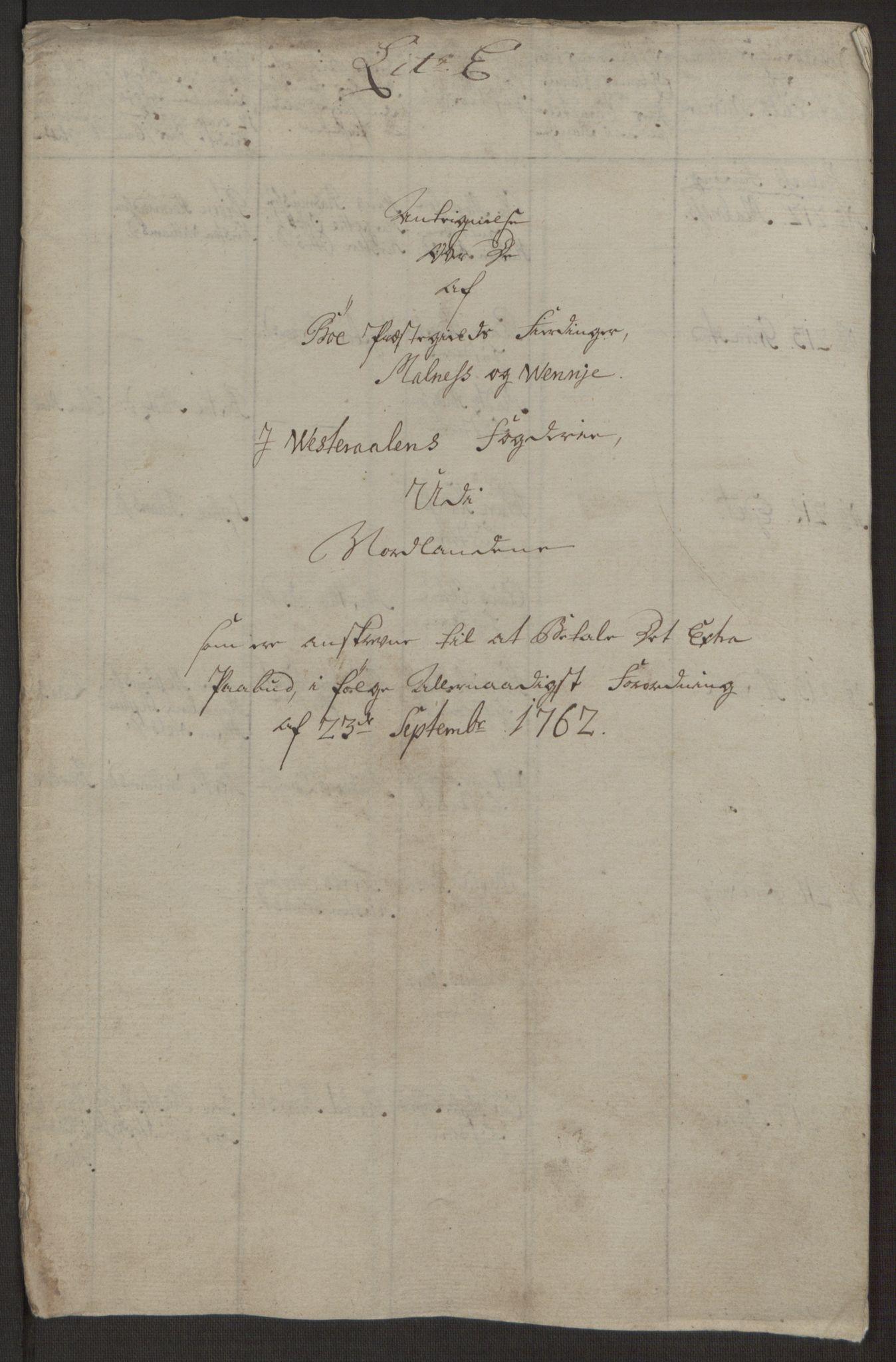 RA, Rentekammeret inntil 1814, Realistisk ordnet avdeling, Ol/L0022a: [Gg 10]: Ekstraskatten, 23.09.1762. Nordlands amt, 1763-1769, s. 100