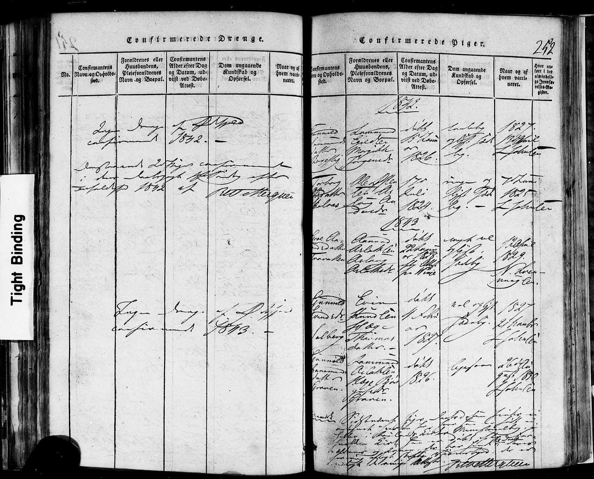 SAKO, Rauland kirkebøker, F/Fa/L0002: Ministerialbok nr. 2, 1815-1860, s. 252