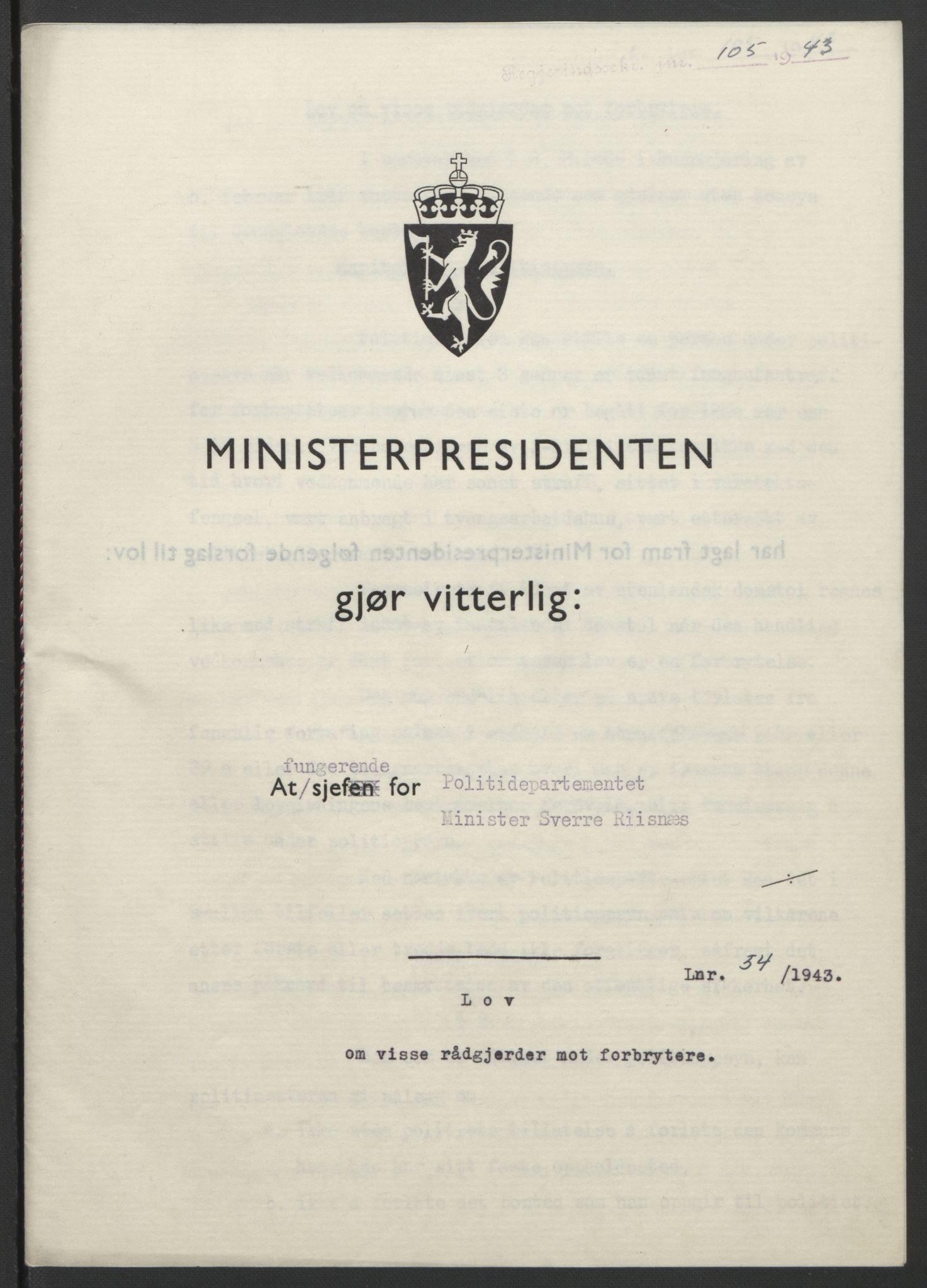 RA, NS-administrasjonen 1940-1945 (Statsrådsekretariatet, de kommisariske statsråder mm), D/Db/L0099: Lover, 1943, s. 241