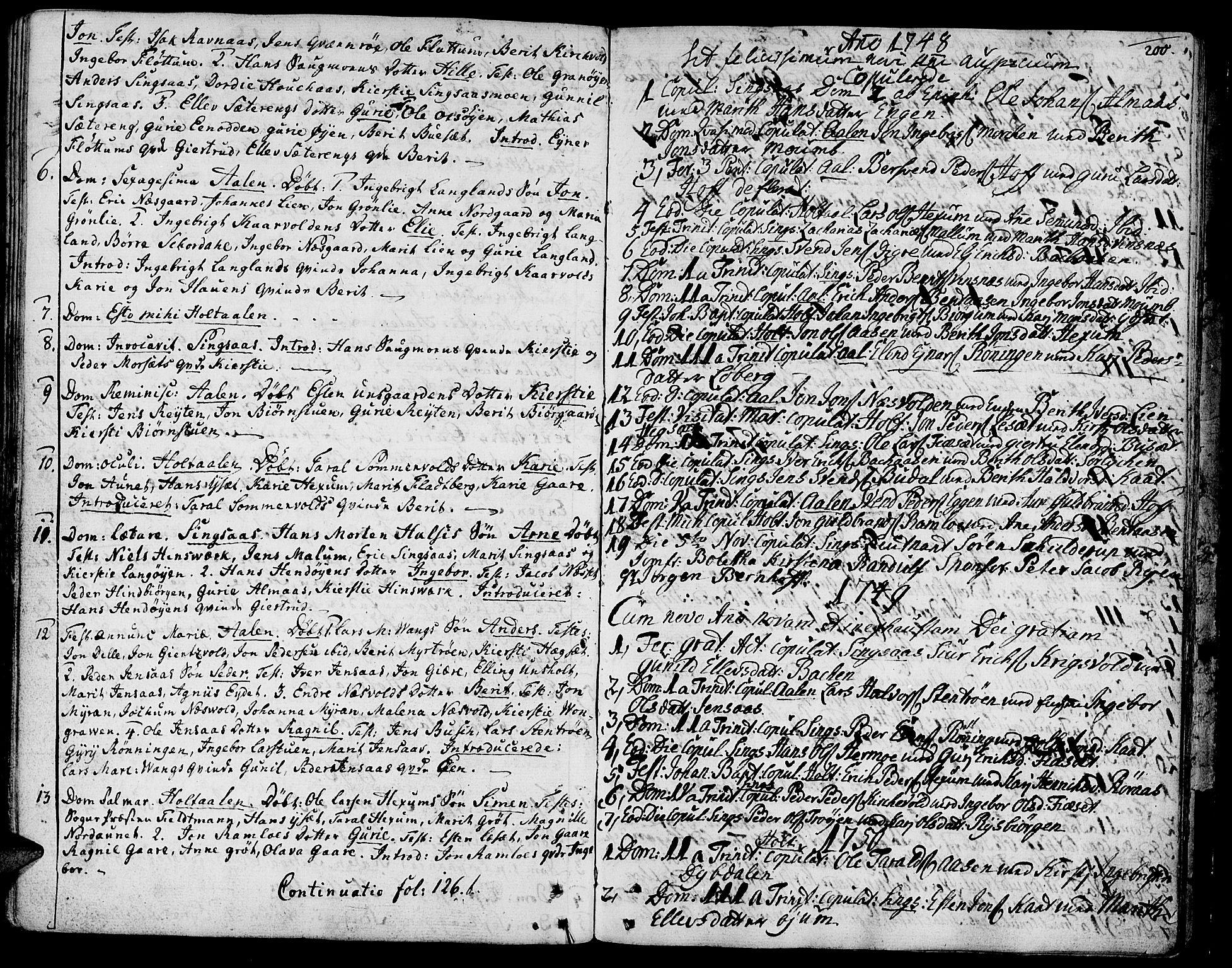 SAT, Ministerialprotokoller, klokkerbøker og fødselsregistre - Sør-Trøndelag, 685/L0952: Ministerialbok nr. 685A01, 1745-1804, s. 200