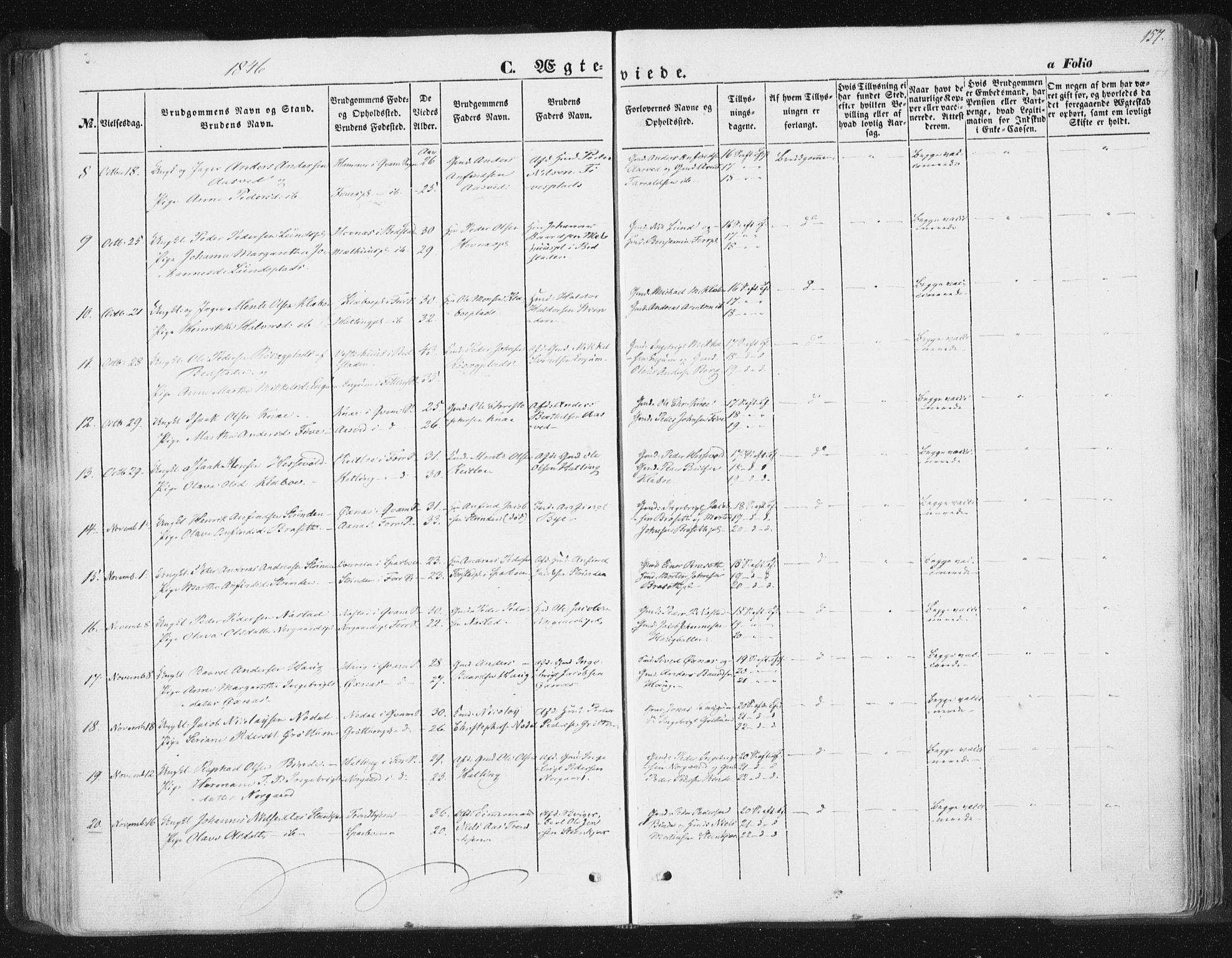 SAT, Ministerialprotokoller, klokkerbøker og fødselsregistre - Nord-Trøndelag, 746/L0446: Ministerialbok nr. 746A05, 1846-1859, s. 157