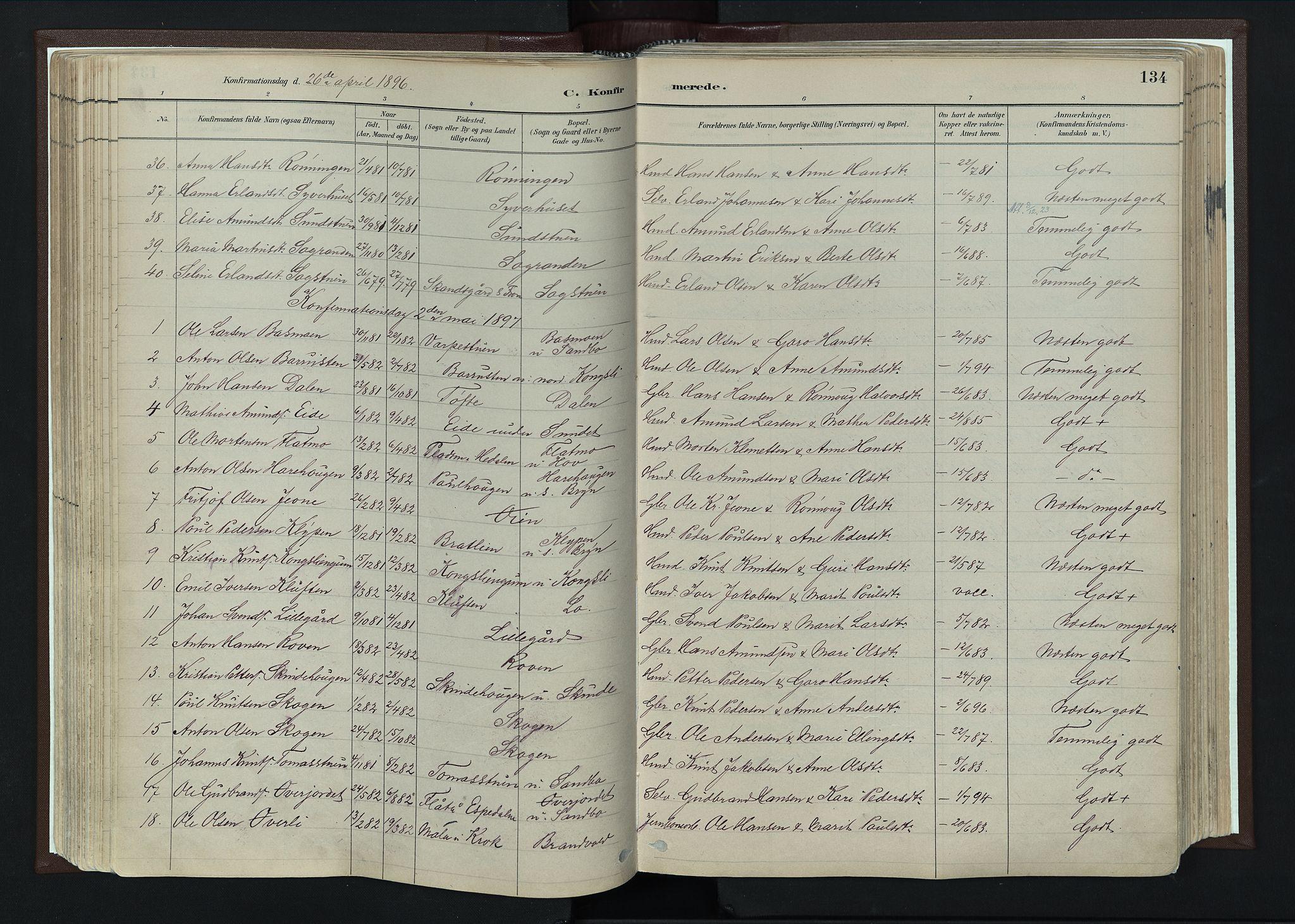 SAH, Nord-Fron prestekontor, Ministerialbok nr. 4, 1884-1914, s. 134