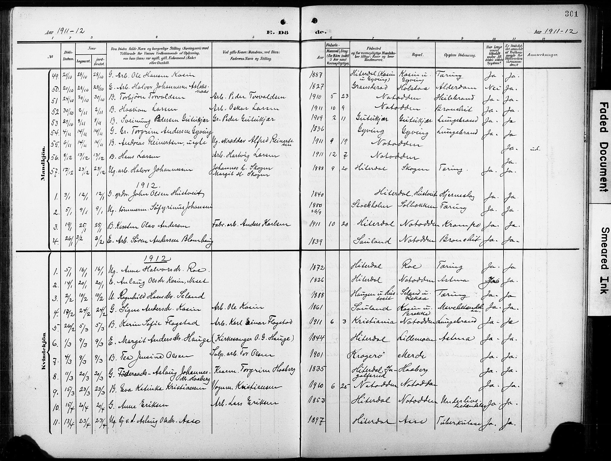 SAKO, Heddal kirkebøker, G/Ga/L0003: Klokkerbok nr. I 3, 1908-1932, s. 301
