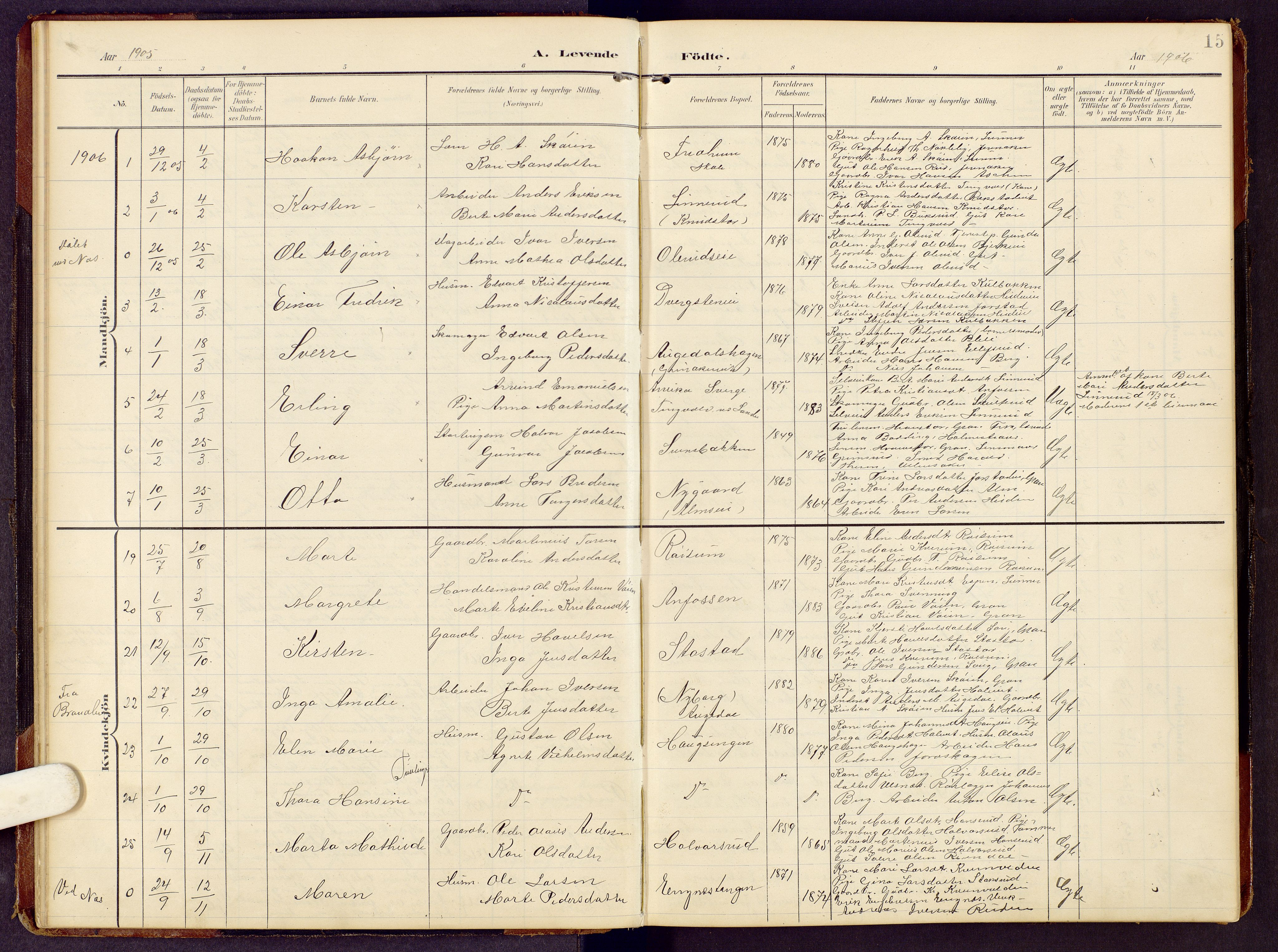 SAH, Brandbu prestekontor, Klokkerbok nr. 9, 1903-1916, s. 15