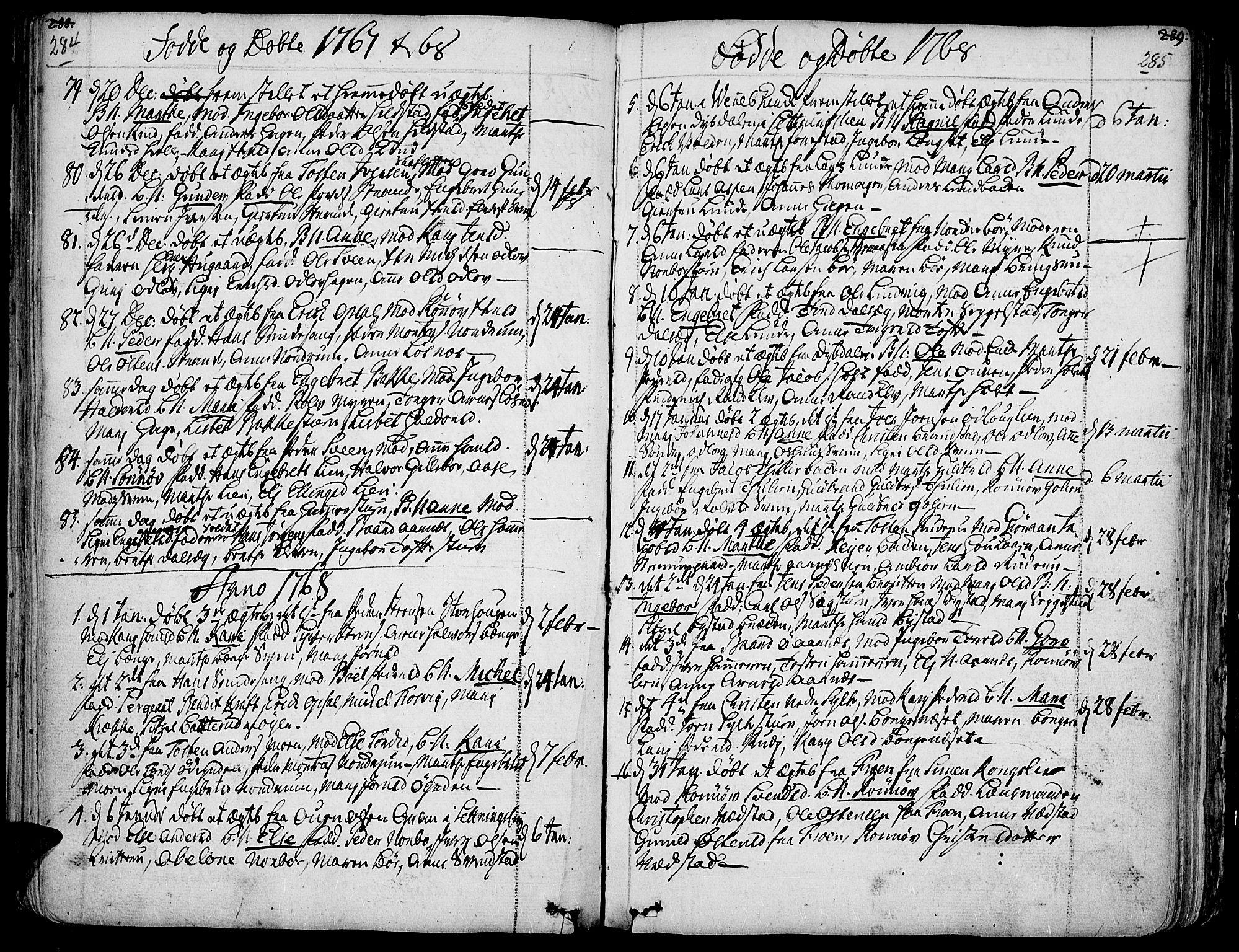 SAH, Ringebu prestekontor, Ministerialbok nr. 2, 1734-1780, s. 284-285