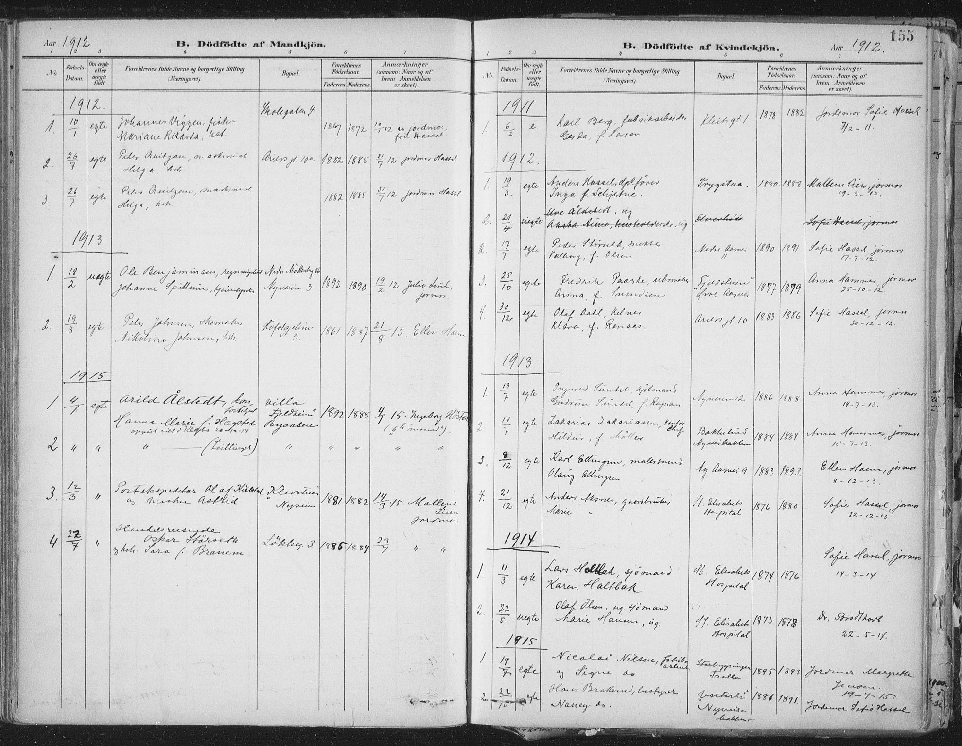 SAT, Ministerialprotokoller, klokkerbøker og fødselsregistre - Sør-Trøndelag, 603/L0167: Ministerialbok nr. 603A06, 1896-1932, s. 155