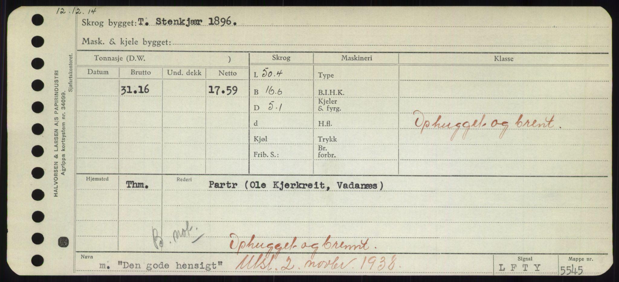 RA, Sjøfartsdirektoratet med forløpere, Skipsmålingen, H/Hd/L0008: Fartøy, C-D, s. 453