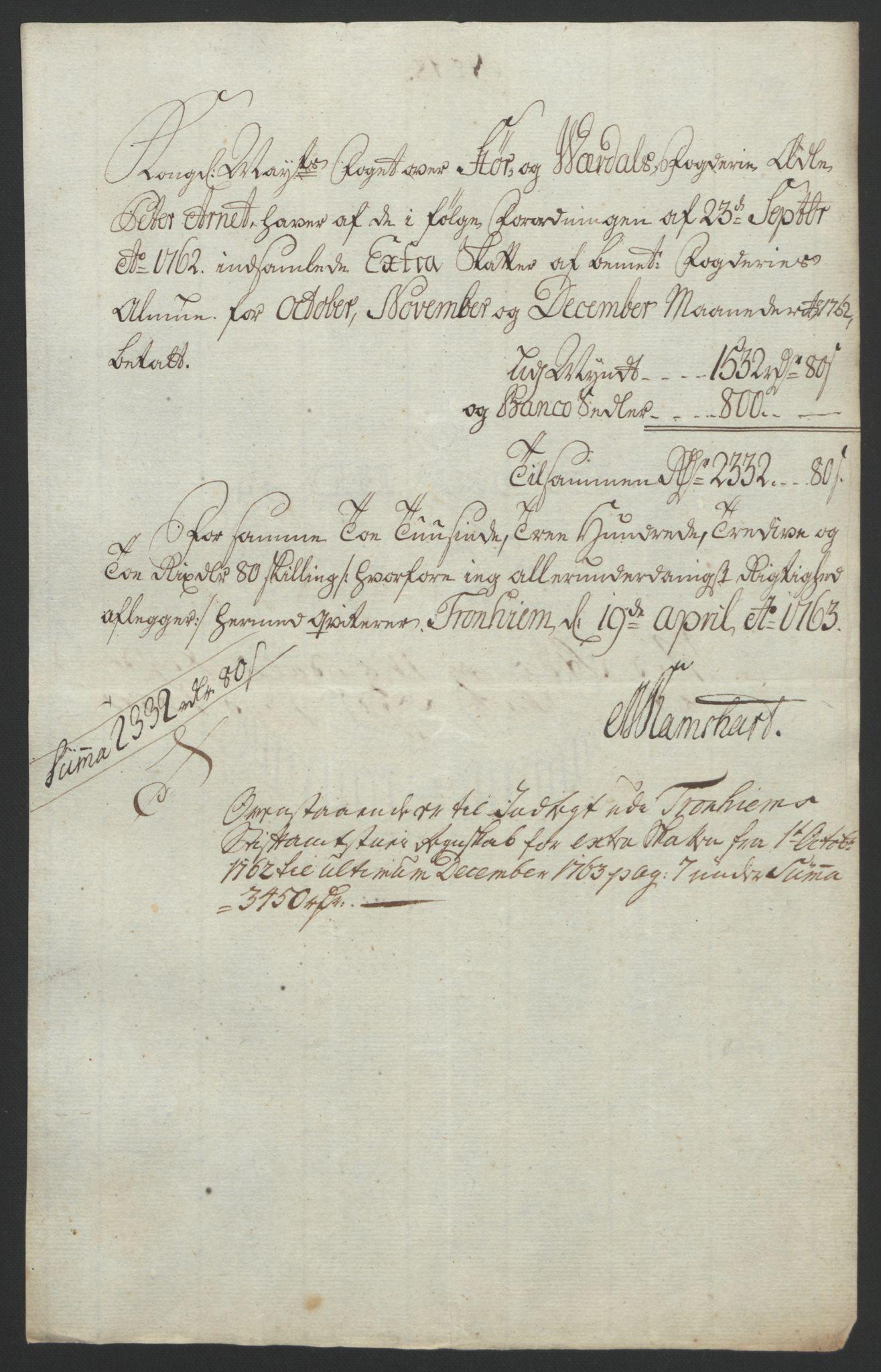 RA, Rentekammeret inntil 1814, Reviderte regnskaper, Fogderegnskap, R62/L4303: Ekstraskatten Stjørdal og Verdal, 1762-1763, s. 45