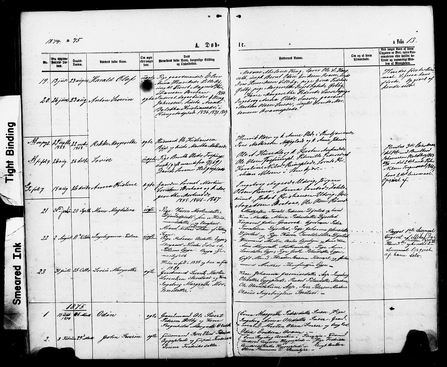 SAT, Ministerialprotokoller, klokkerbøker og fødselsregistre - Nord-Trøndelag, 740/L0380: Klokkerbok nr. 740C01, 1868-1902, s. 13