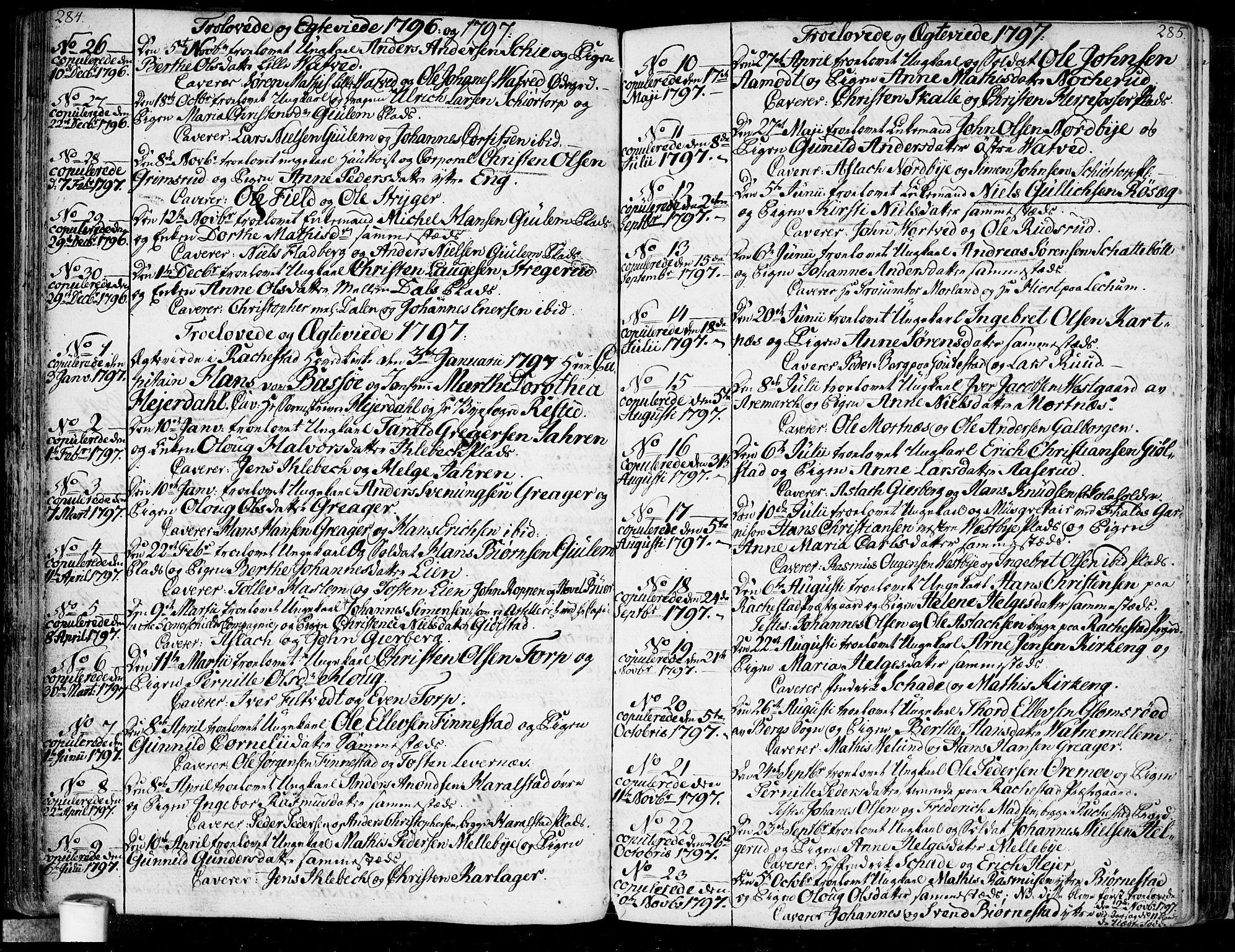 SAO, Rakkestad prestekontor Kirkebøker, F/Fa/L0005: Ministerialbok nr. I 5, 1784-1814, s. 284-285