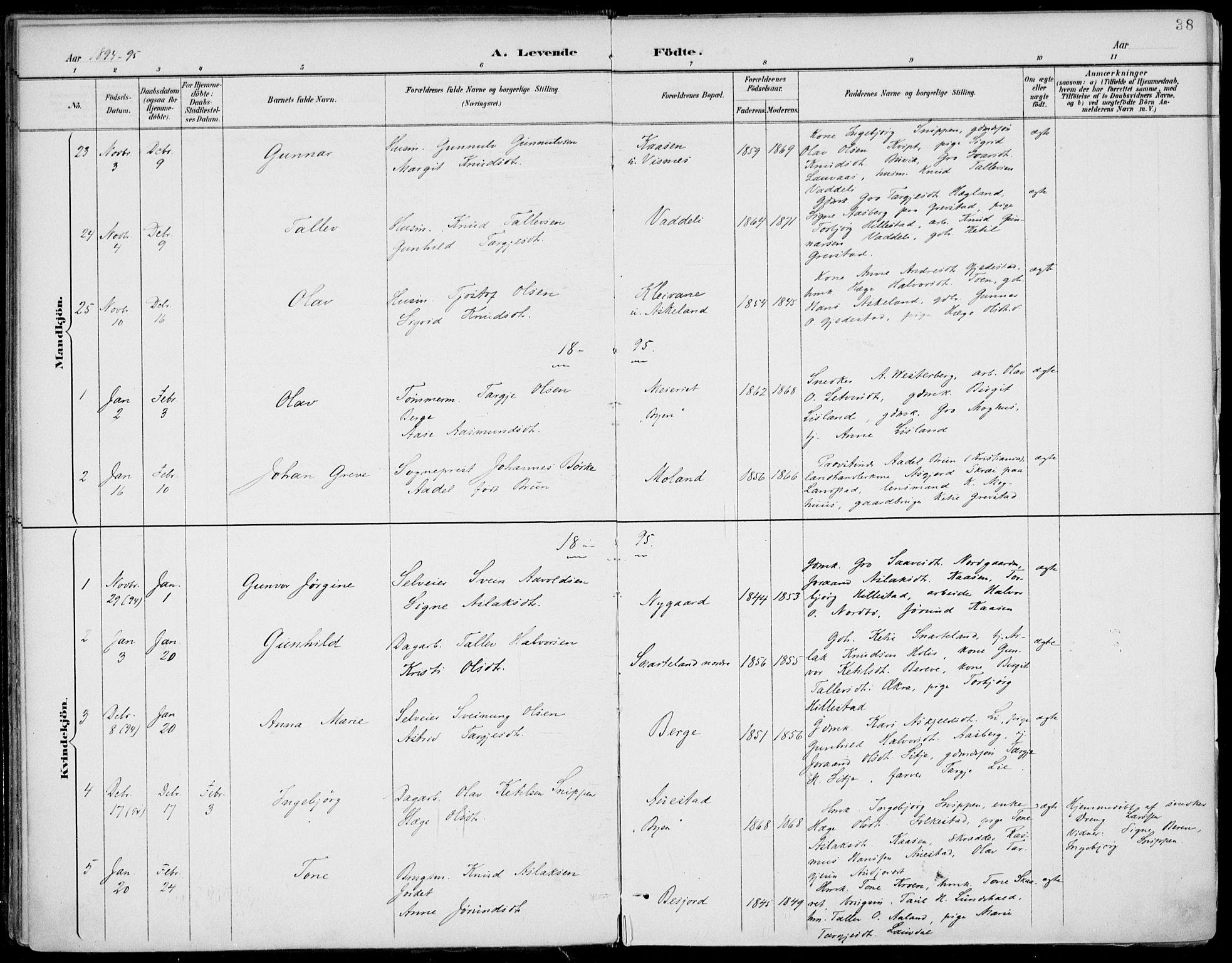 SAKO, Fyresdal kirkebøker, F/Fa/L0007: Ministerialbok nr. I 7, 1887-1914, s. 38