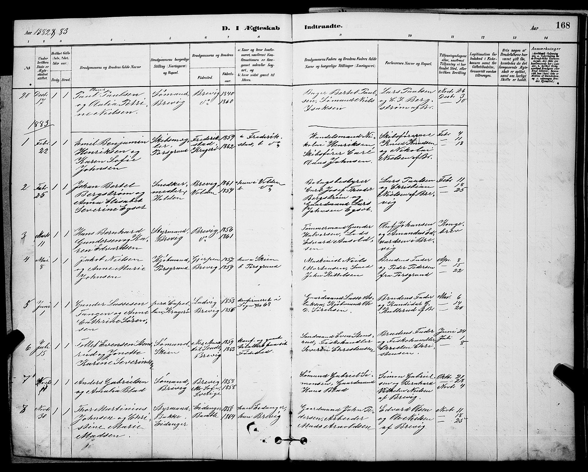 SAKO, Brevik kirkebøker, G/Ga/L0004: Klokkerbok nr. 4, 1882-1900, s. 168