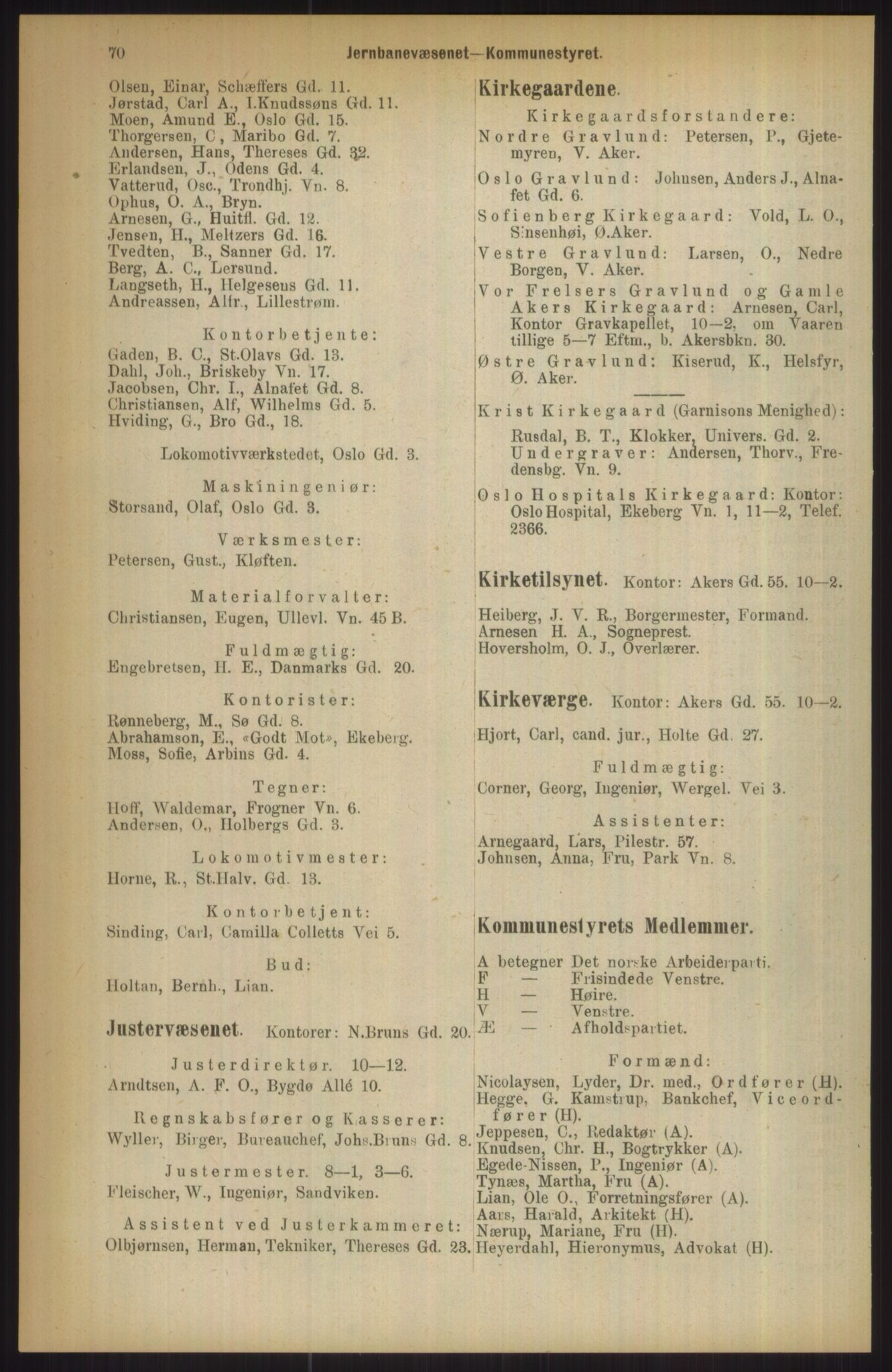 RA, Kristiania adressebok (publikasjon)*, 1911, s. 70