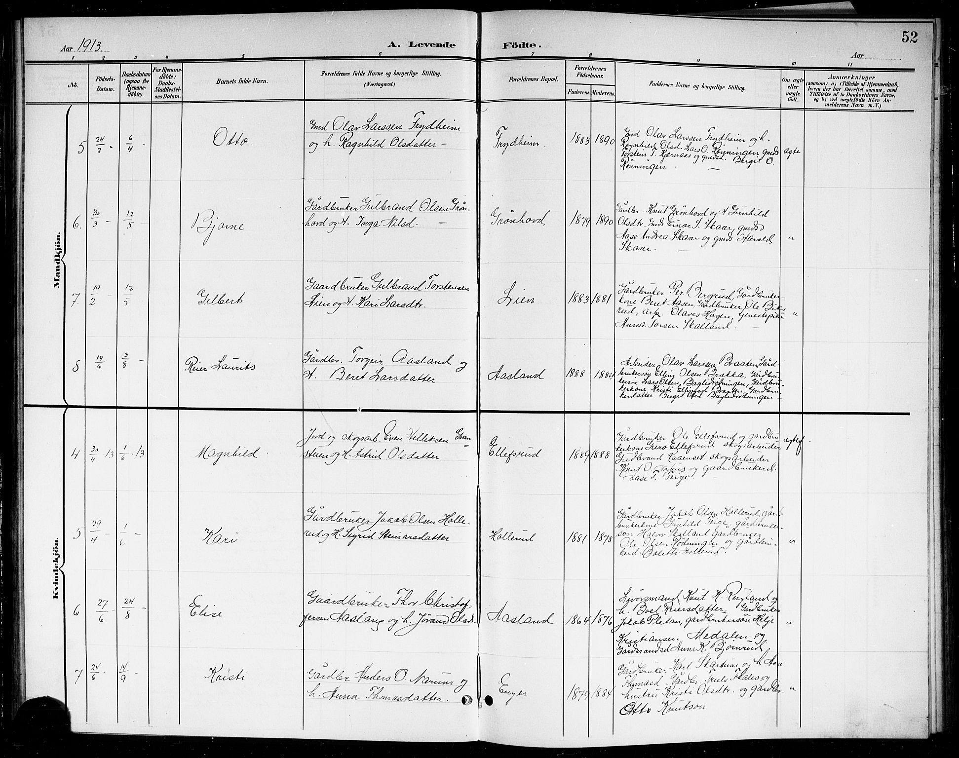 SAKO, Sigdal kirkebøker, G/Gb/L0003: Klokkerbok nr. II 3, 1901-1916, s. 52