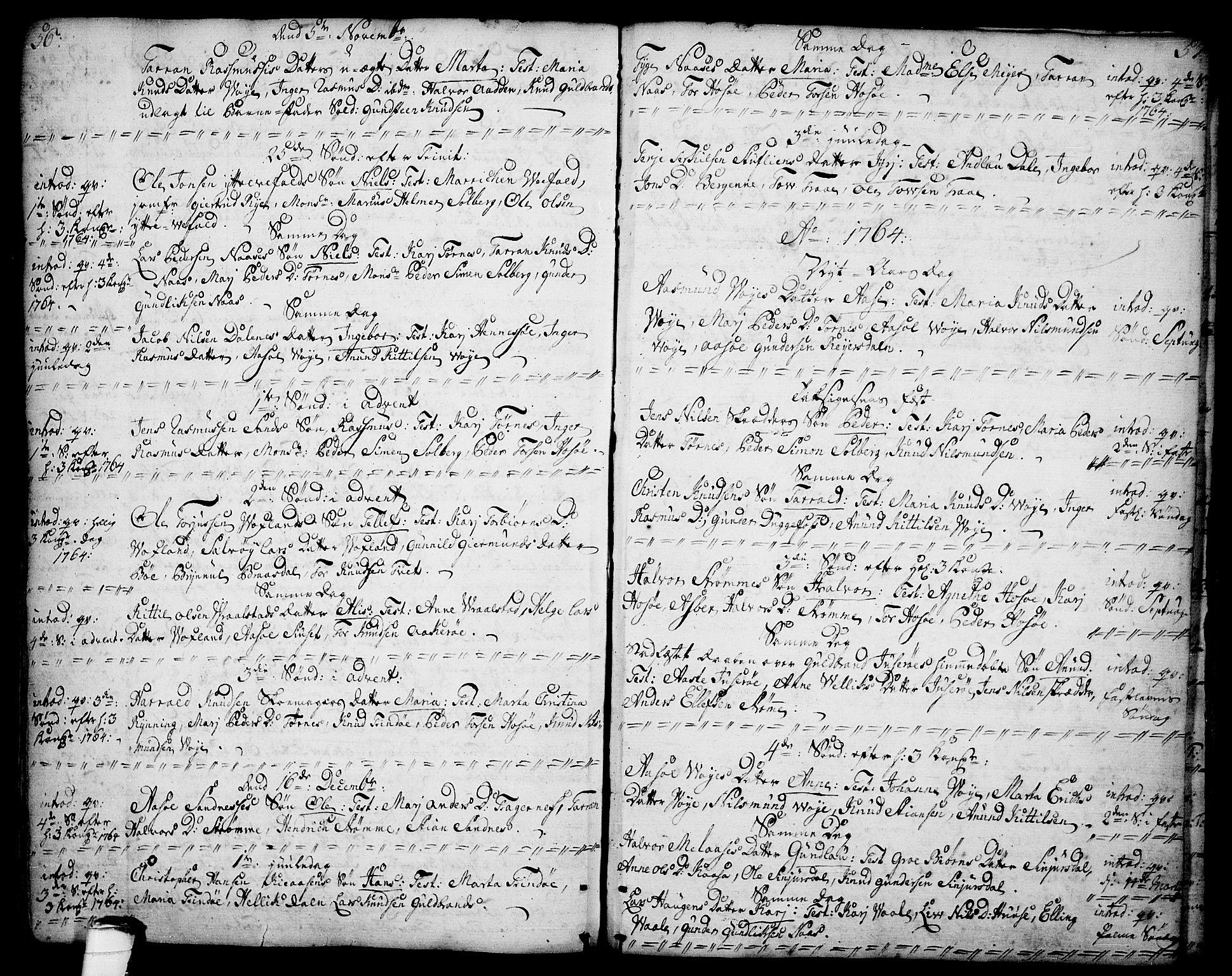 SAKO, Drangedal kirkebøker, F/Fa/L0001: Ministerialbok nr. 1, 1697-1767, s. 56-57