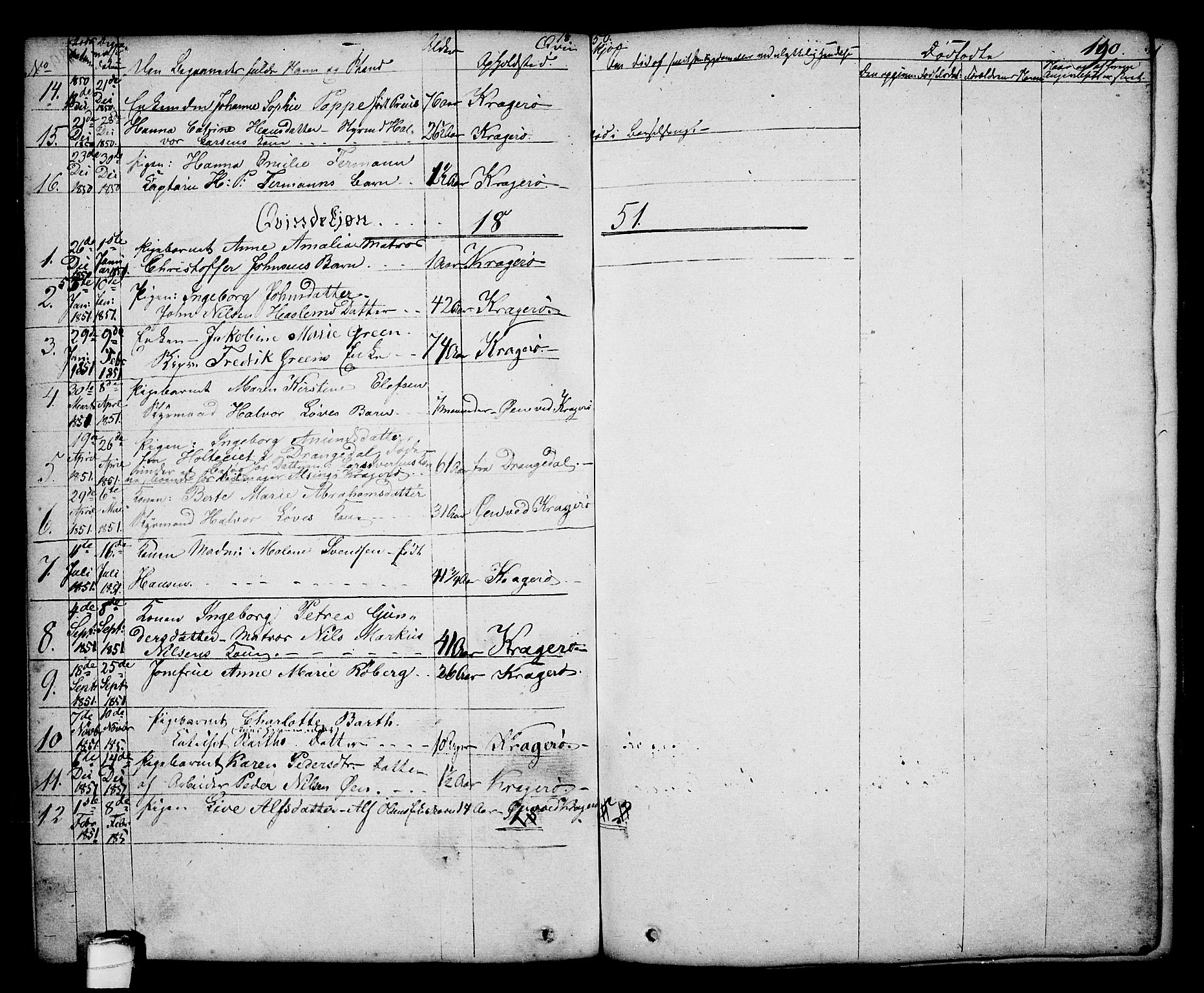 SAKO, Kragerø kirkebøker, G/Ga/L0003: Klokkerbok nr. 3, 1832-1852, s. 190