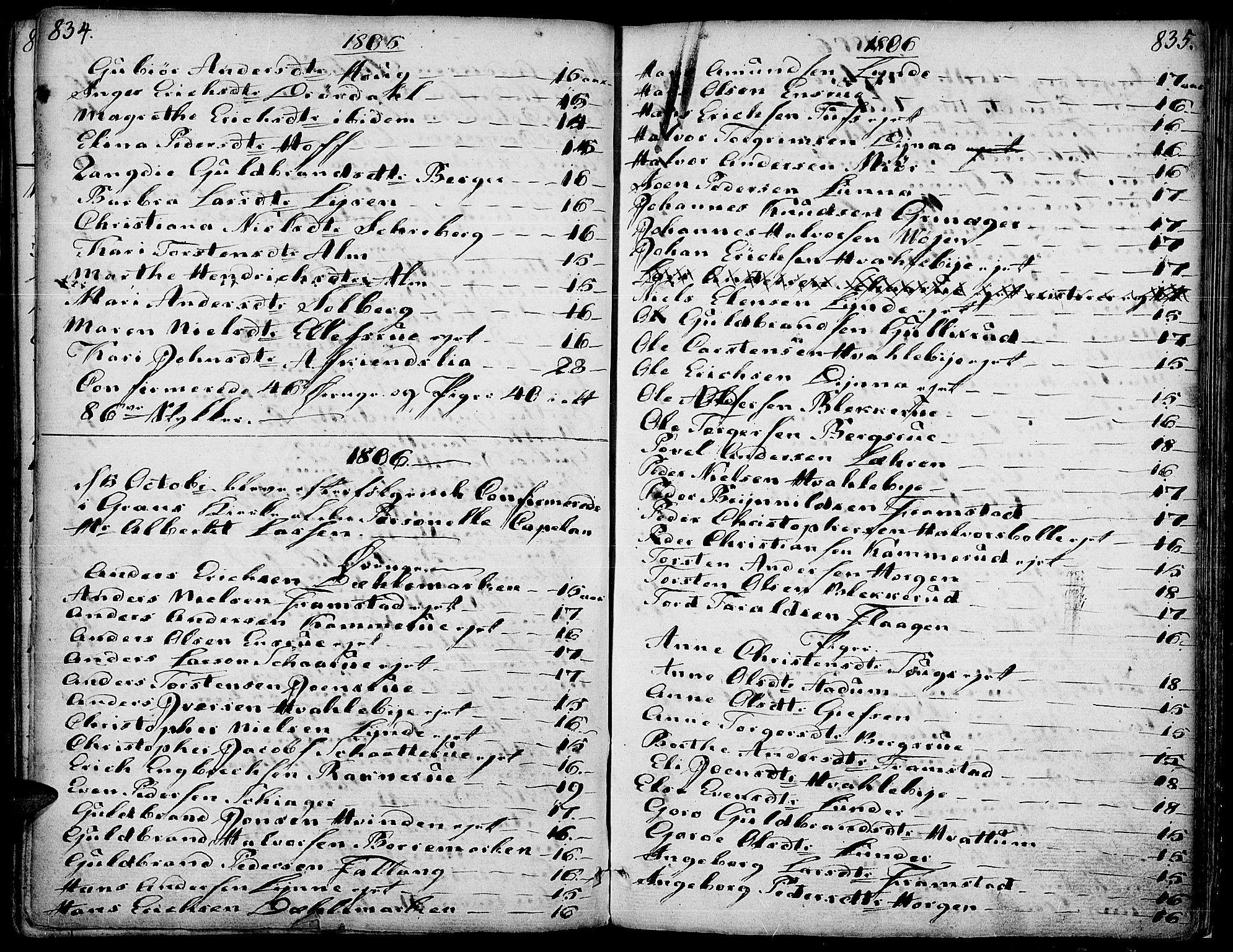 SAH, Gran prestekontor, Ministerialbok nr. 6, 1787-1824, s. 834-835