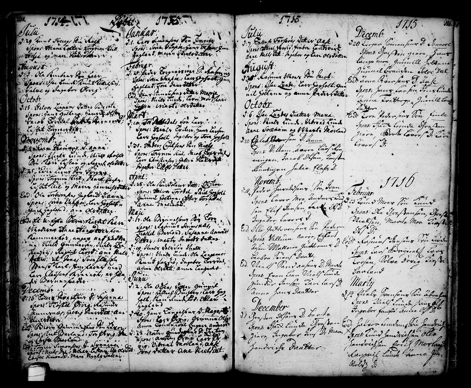 SAKO, Sannidal kirkebøker, F/Fa/L0001: Ministerialbok nr. 1, 1702-1766, s. 110-111